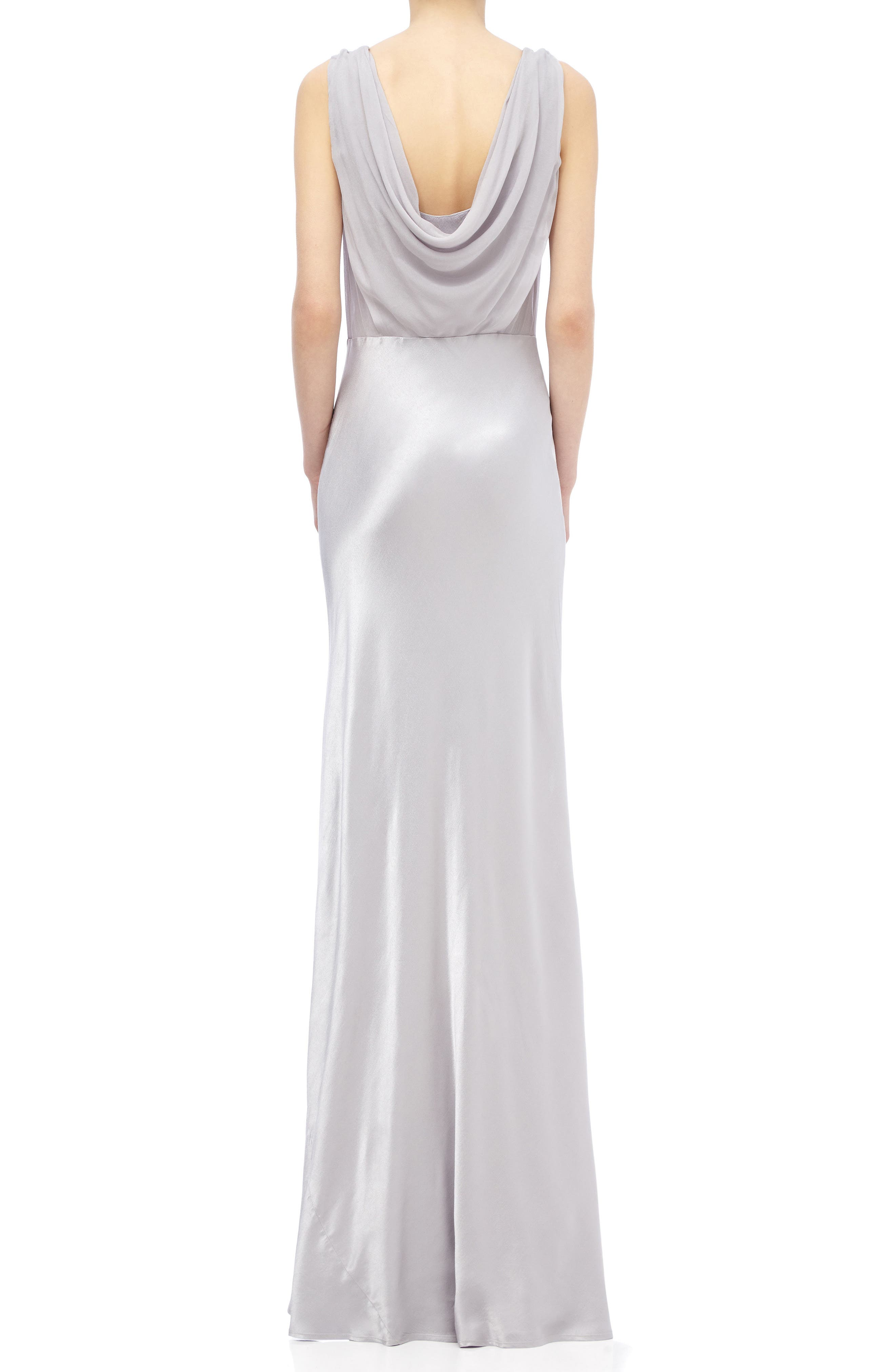 Claudia Cowl Back Gown,                             Alternate thumbnail 2, color,                             SILVER LAKE