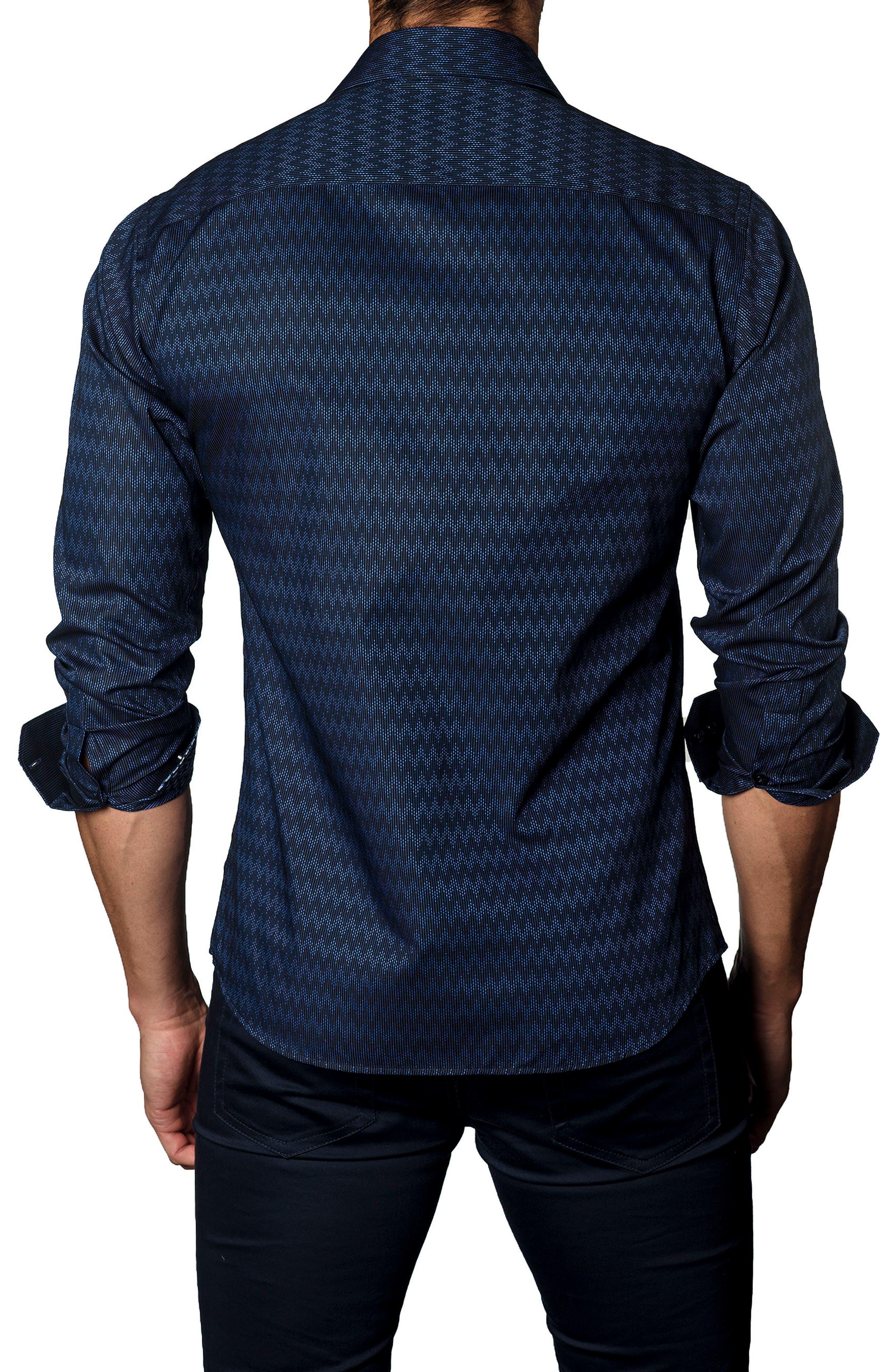 Trim Fit Zigzag Sport Shirt,                             Alternate thumbnail 2, color,                             410