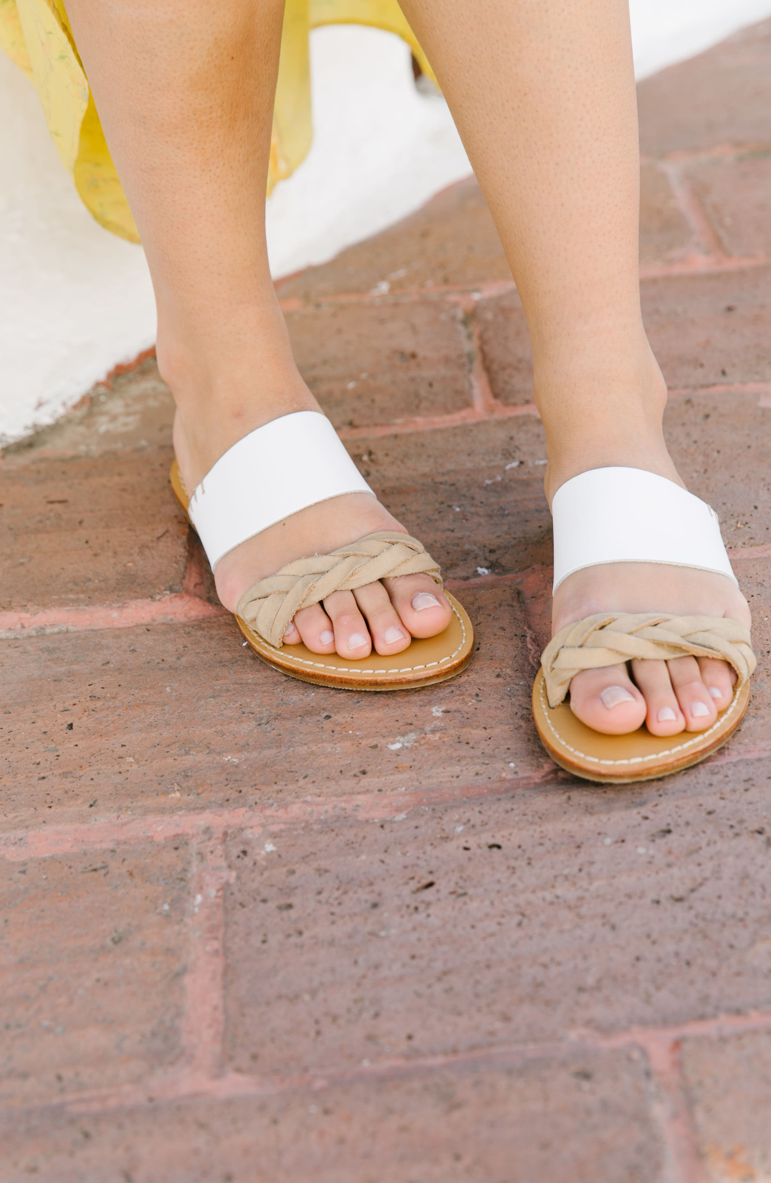 Slide Sandal,                             Alternate thumbnail 7, color,                             WHITE LEATHER