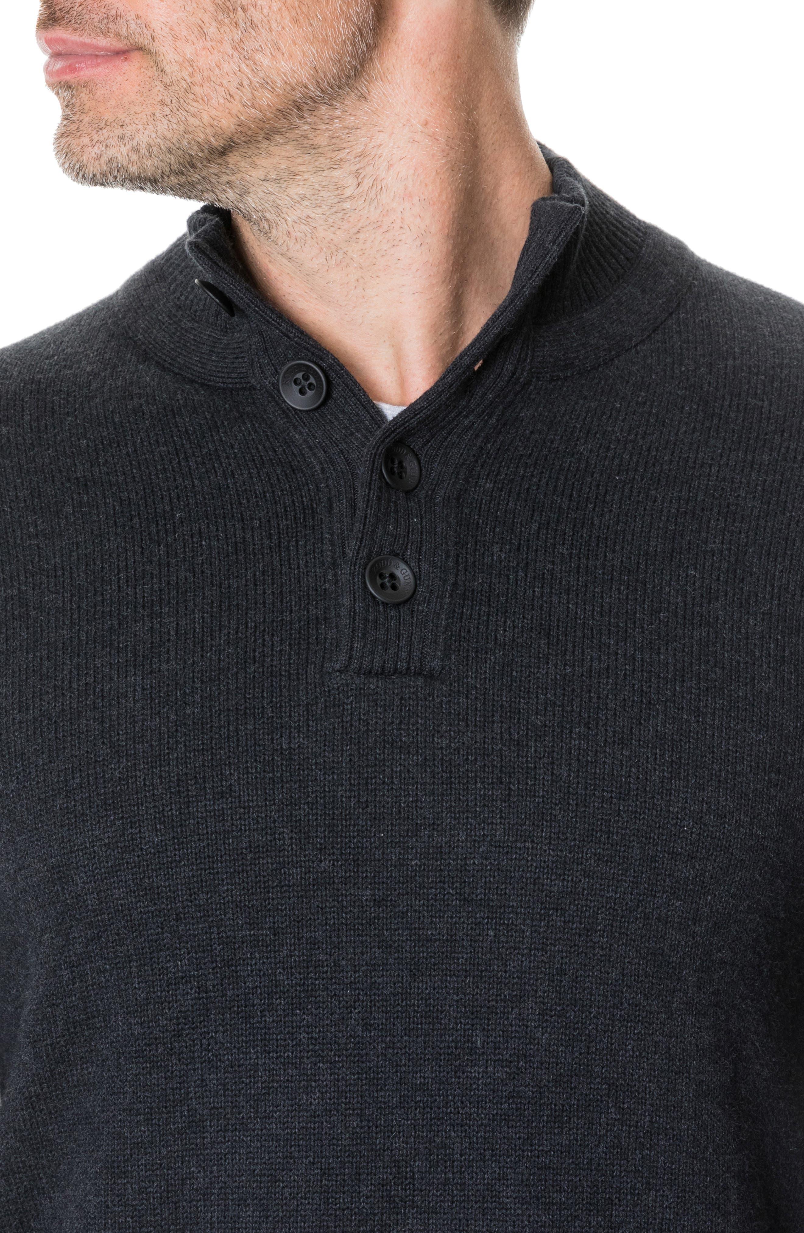 Kent Terrace Quarter Button Sweater,                             Alternate thumbnail 4, color,                             CHARCOAL