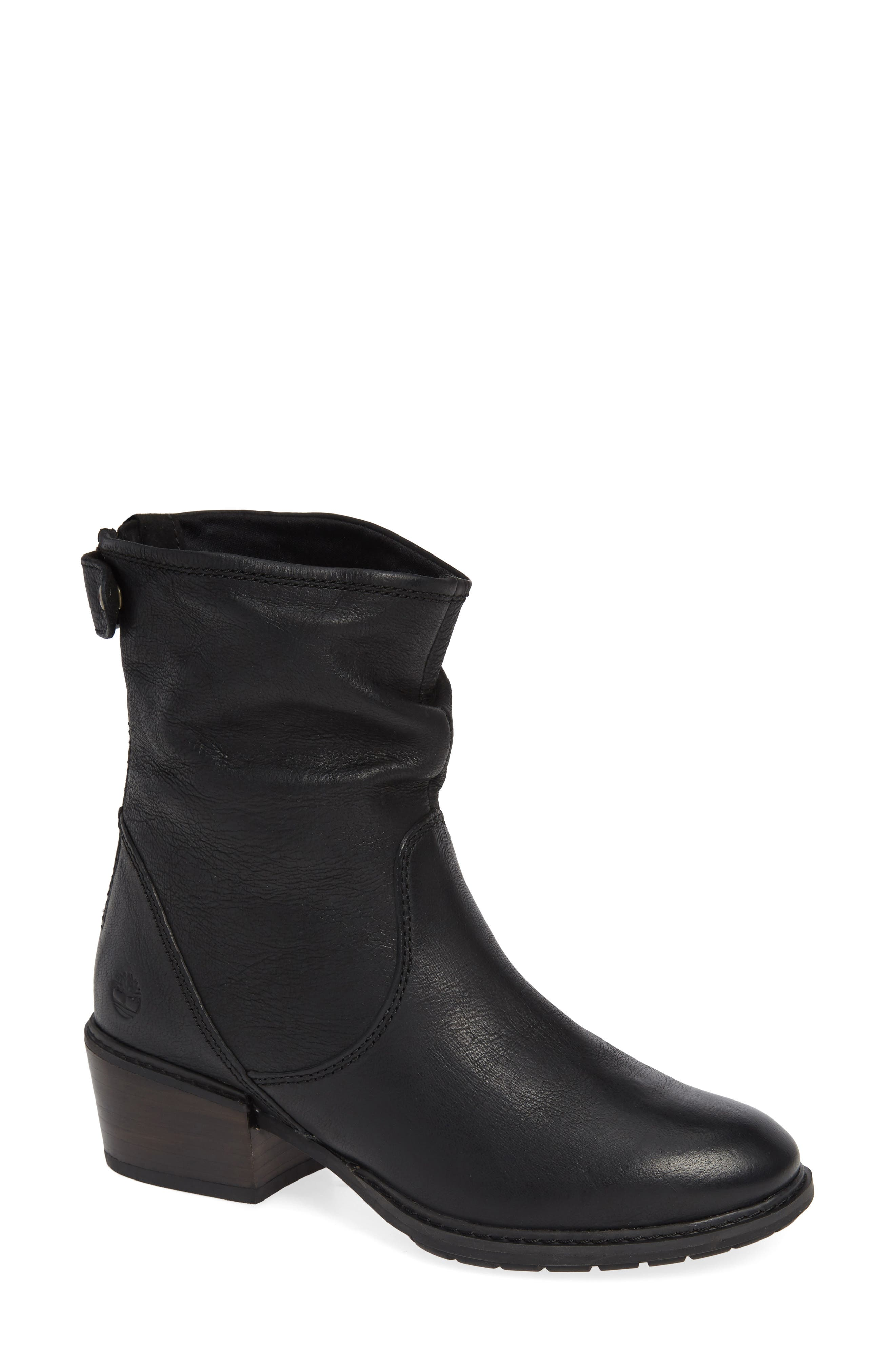 Sutherlin Bay Water Resistant Bootie,                             Main thumbnail 1, color,                             JET BLACK LEATHER