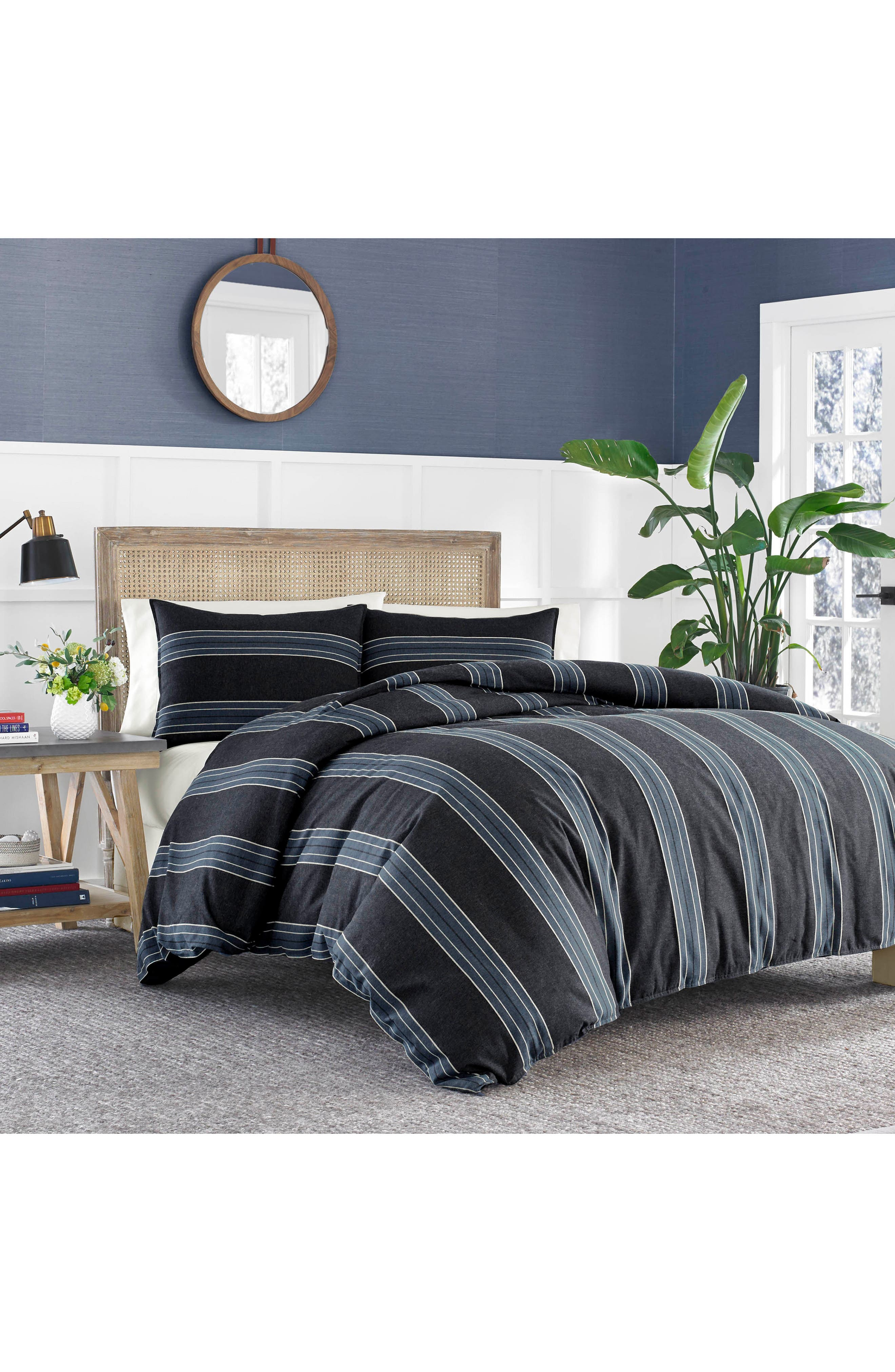 Lockridge Duvet Cover & Sham Set,                         Main,                         color, DARK BLUE