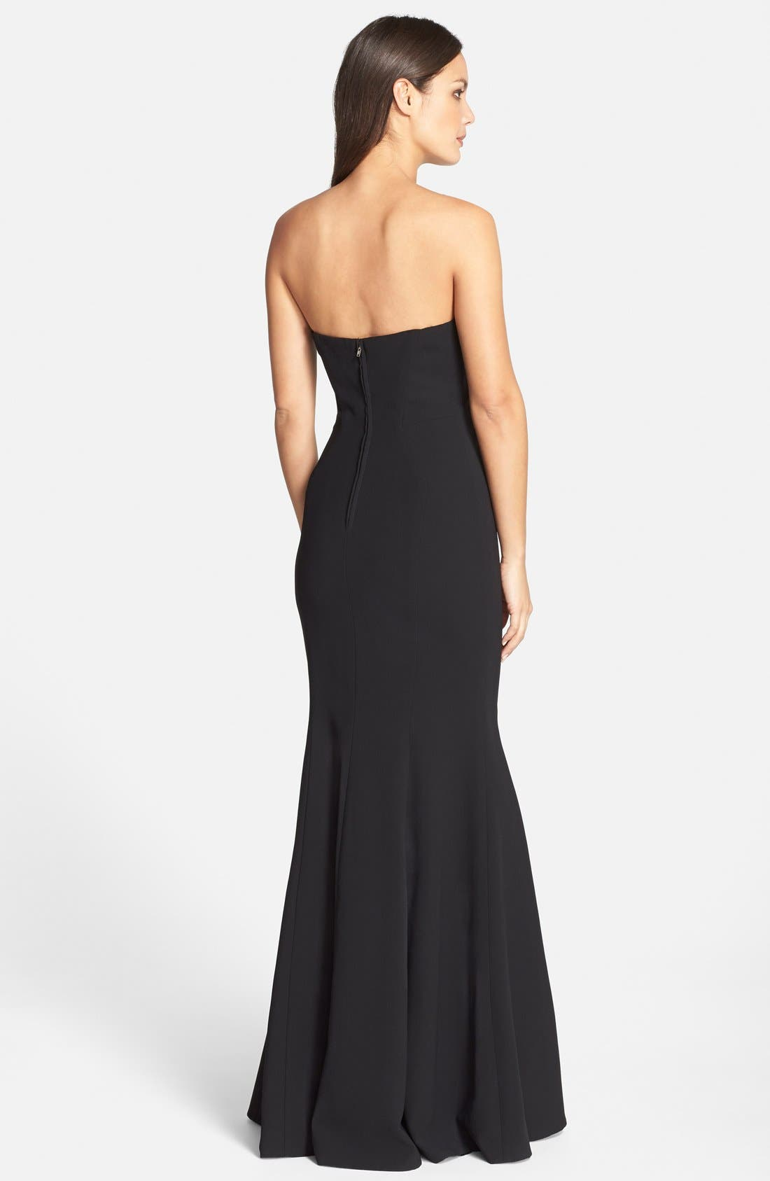 Notched Strapless Gown,                             Alternate thumbnail 2, color,                             001