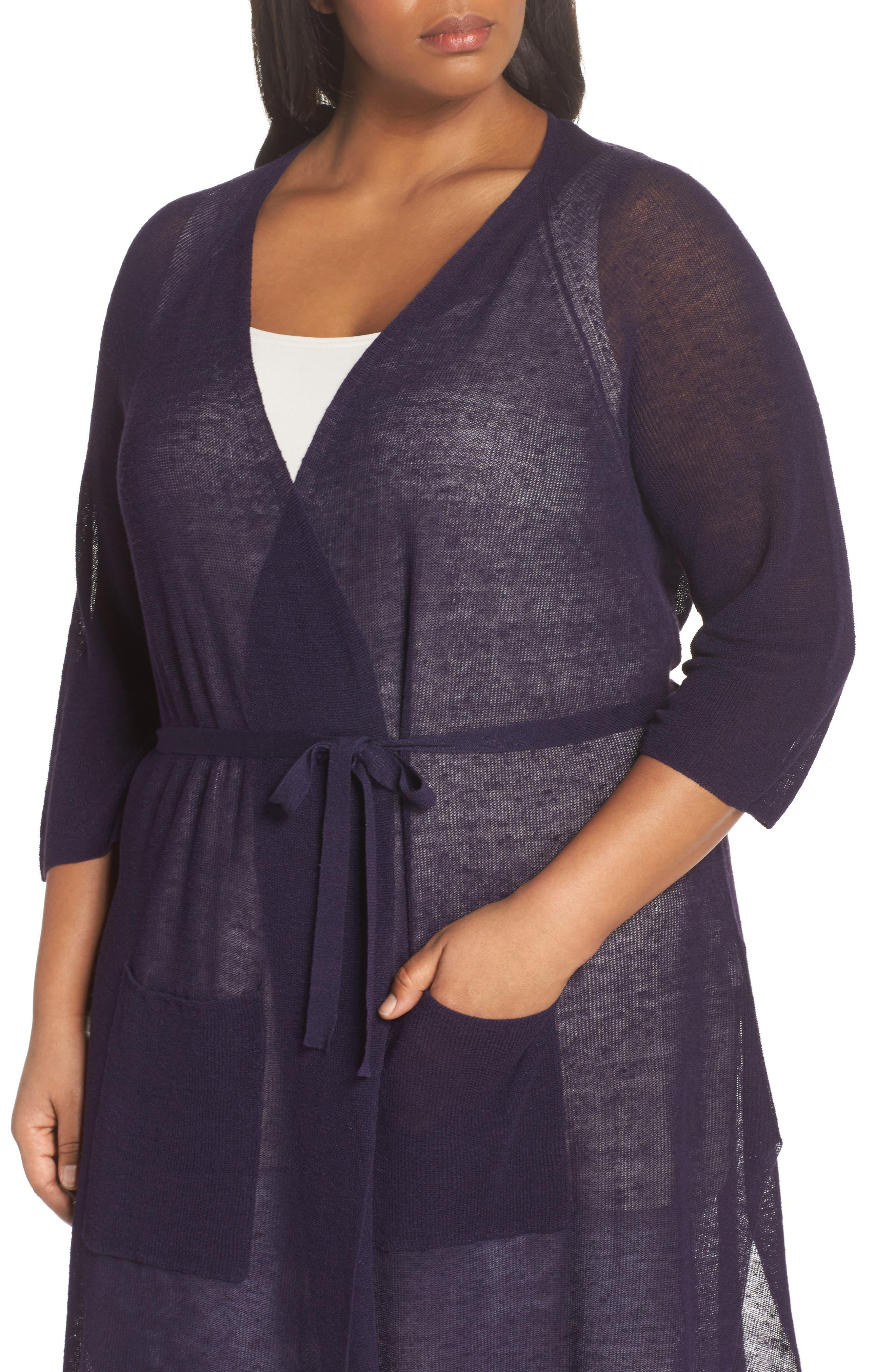 Long Organic Linen Blend Kimono Cardigan,                             Alternate thumbnail 13, color,