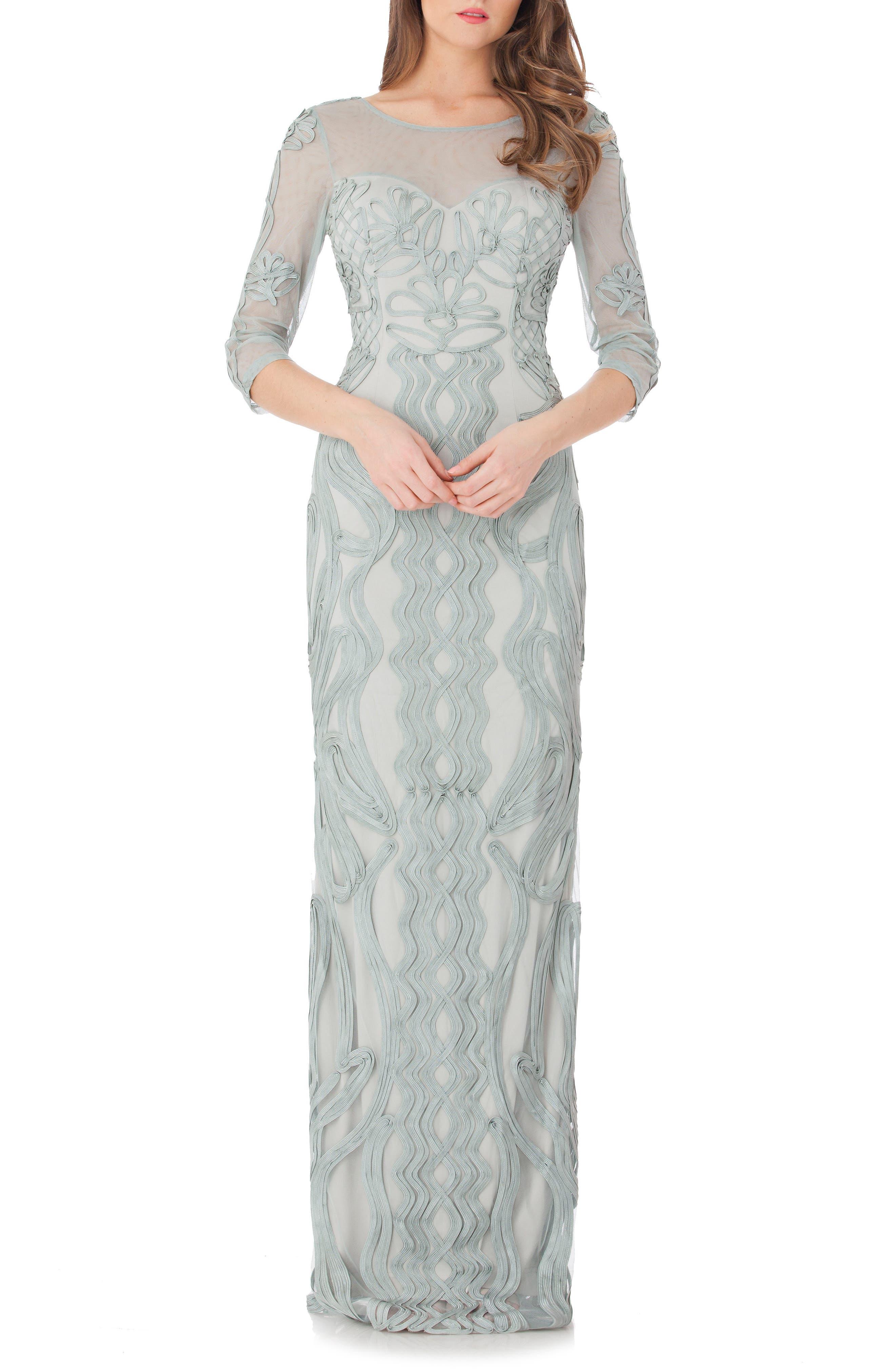 Js Collections Illusion Yoke Soutache Column Gown, Blue/green
