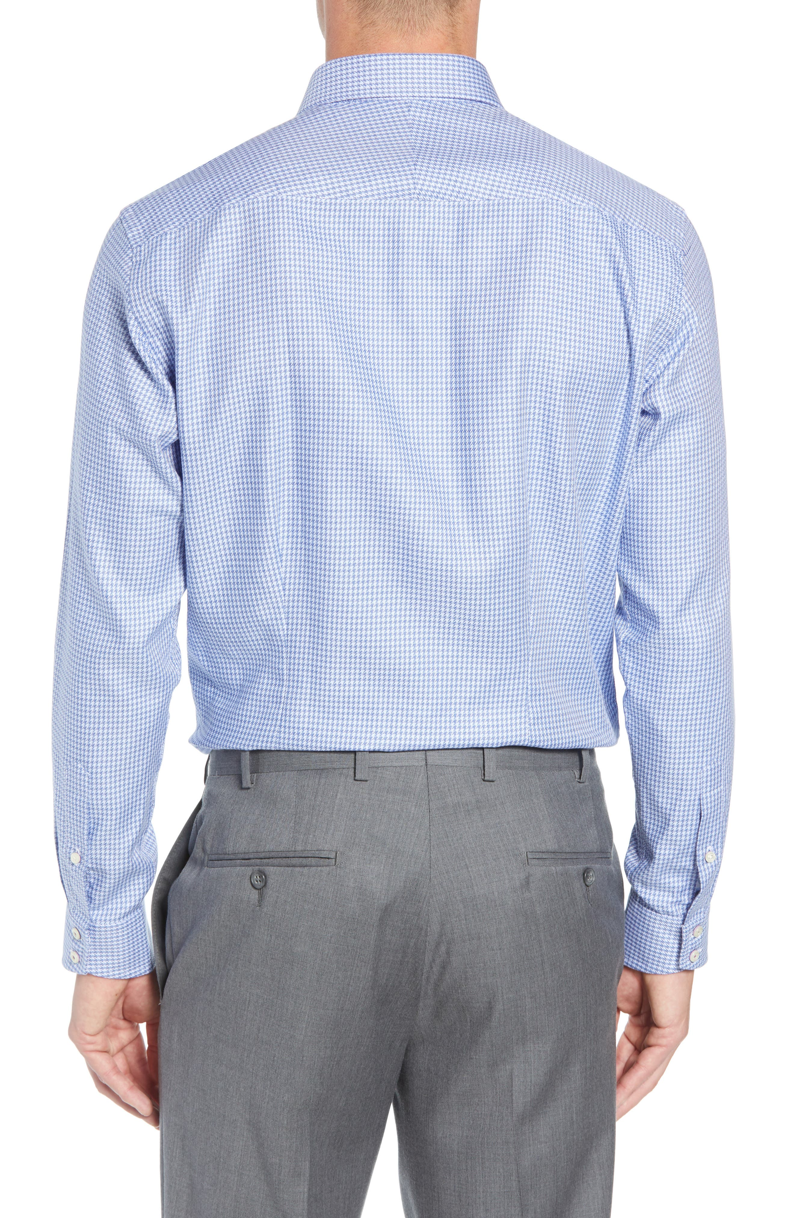Franks Trim Fit Houndstooth Dress Shirt,                             Alternate thumbnail 3, color,                             BLUE