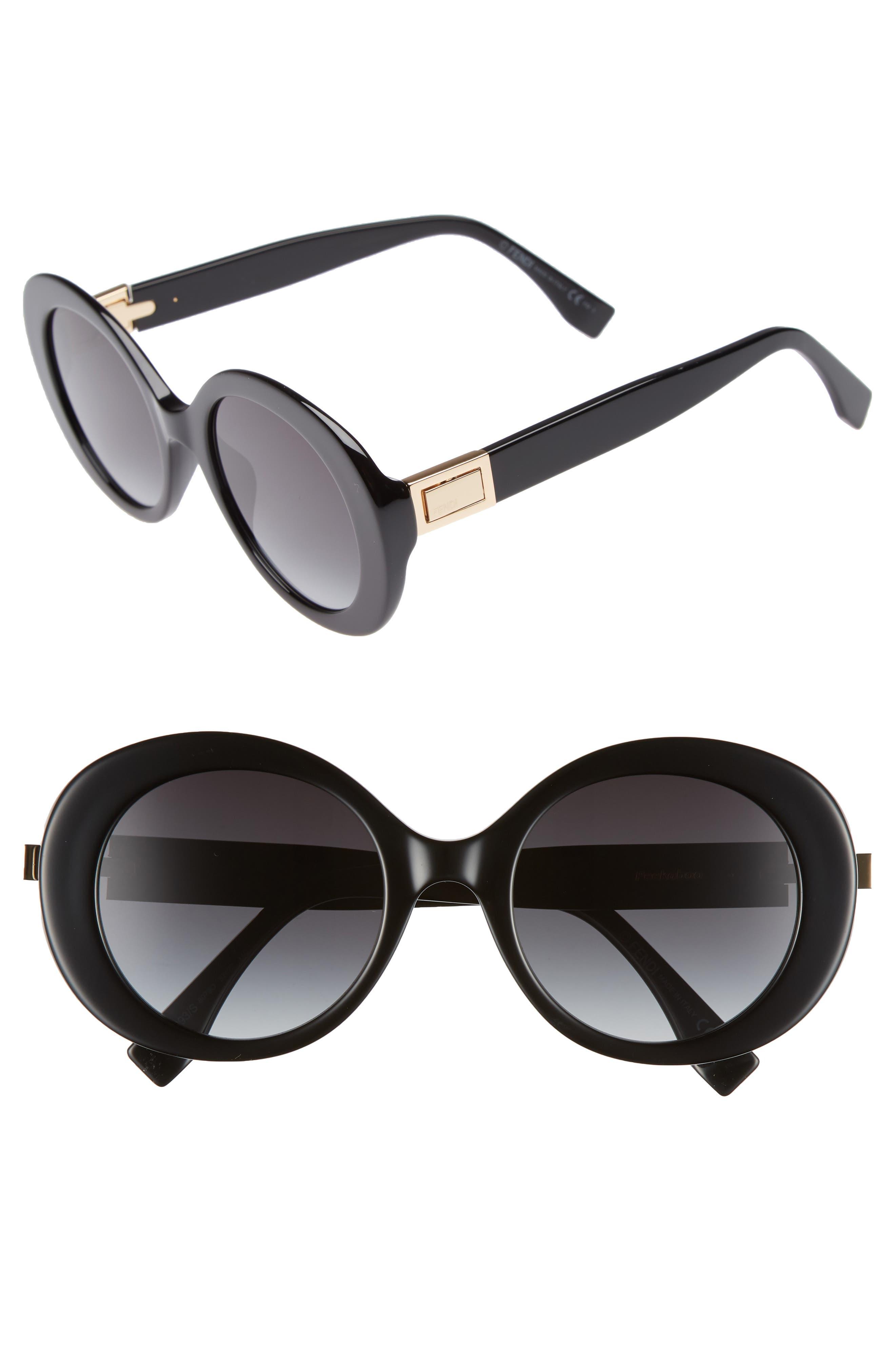 52mm Round Sunglasses,                         Main,                         color, BLACK