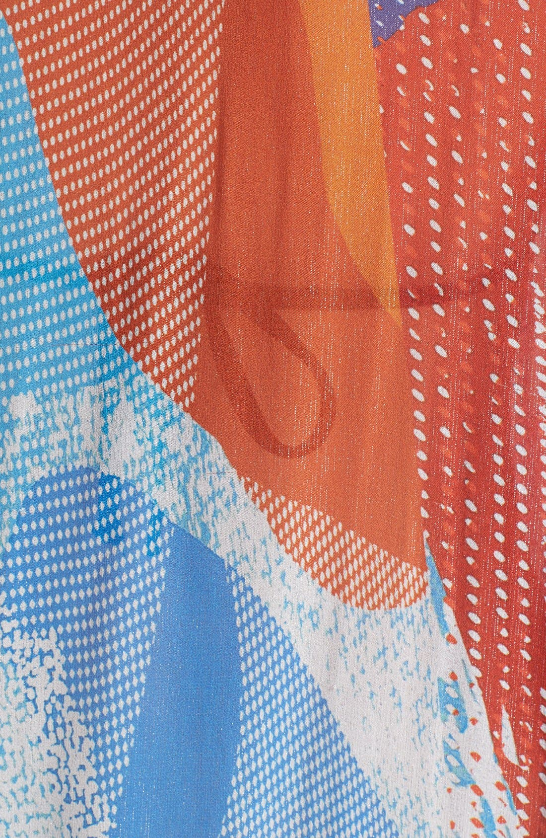 'Clare' Beaded Print Silk Blend Caftan,                             Alternate thumbnail 4, color,