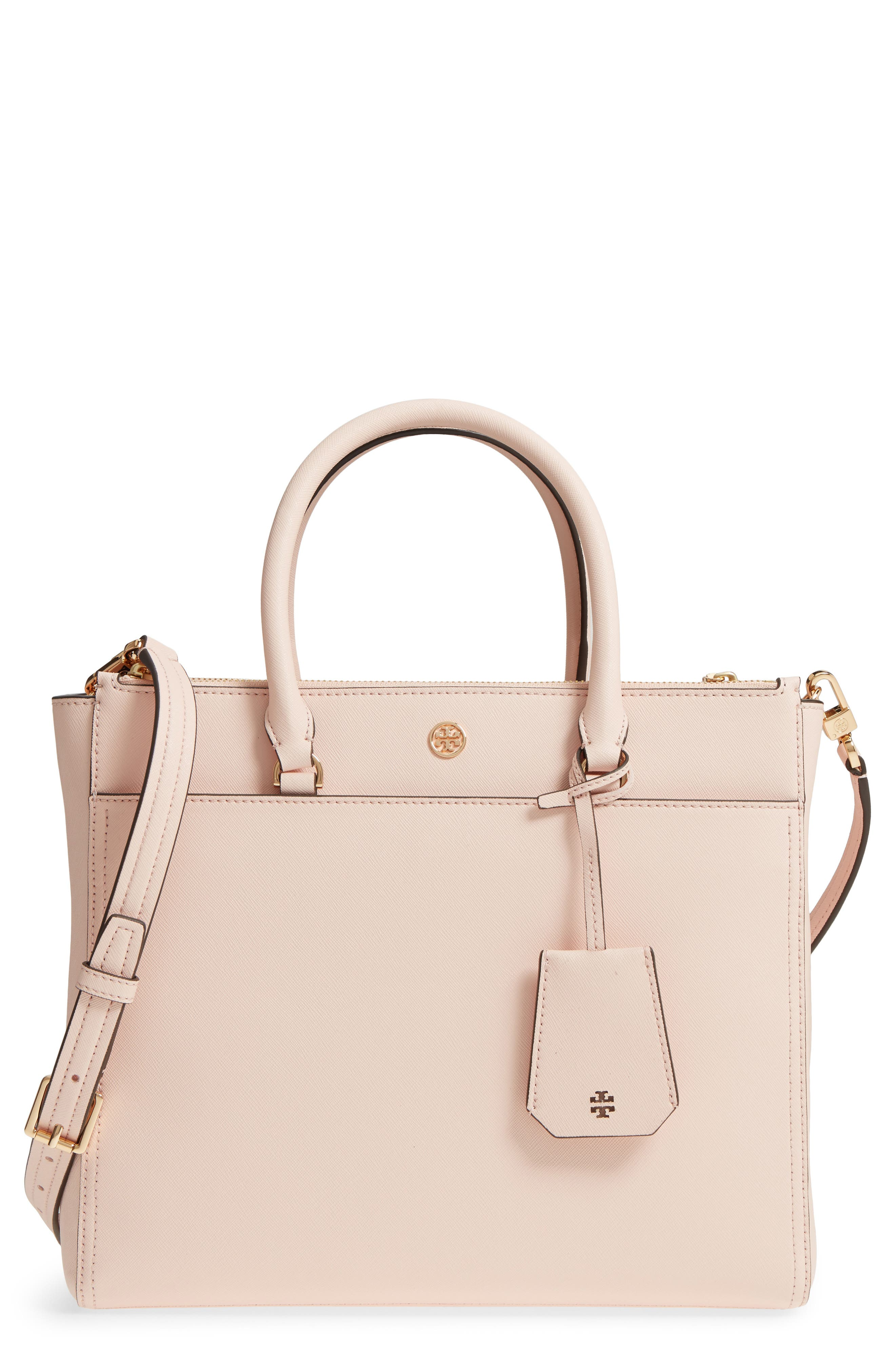 Robinson Double-Zip Leather Tote,                         Main,                         color, PALE APRICOT / ROYAL NAVY