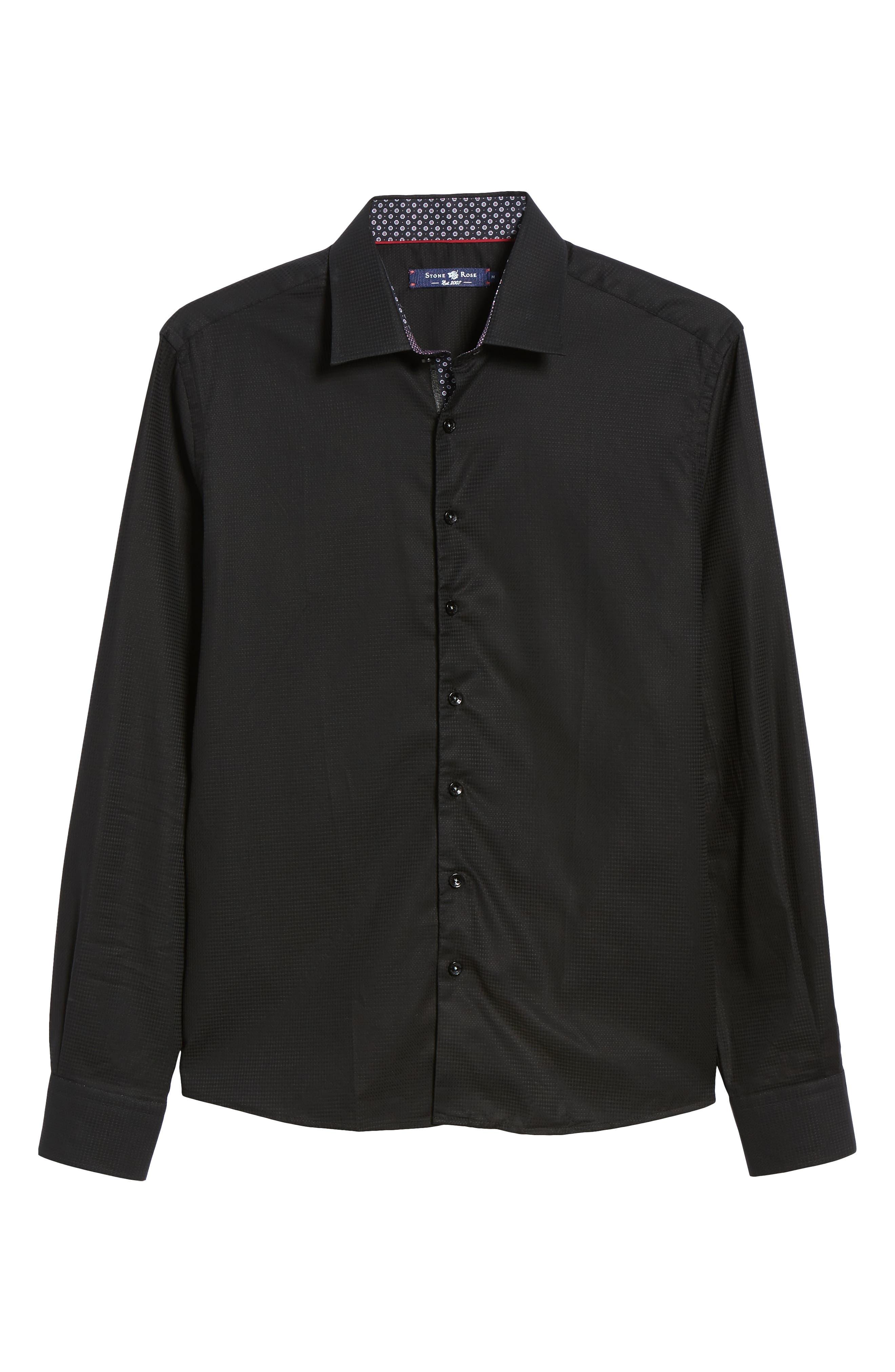 Contemporary Fit Waffle Texture Sport Shirt,                             Alternate thumbnail 5, color,                             BLACK