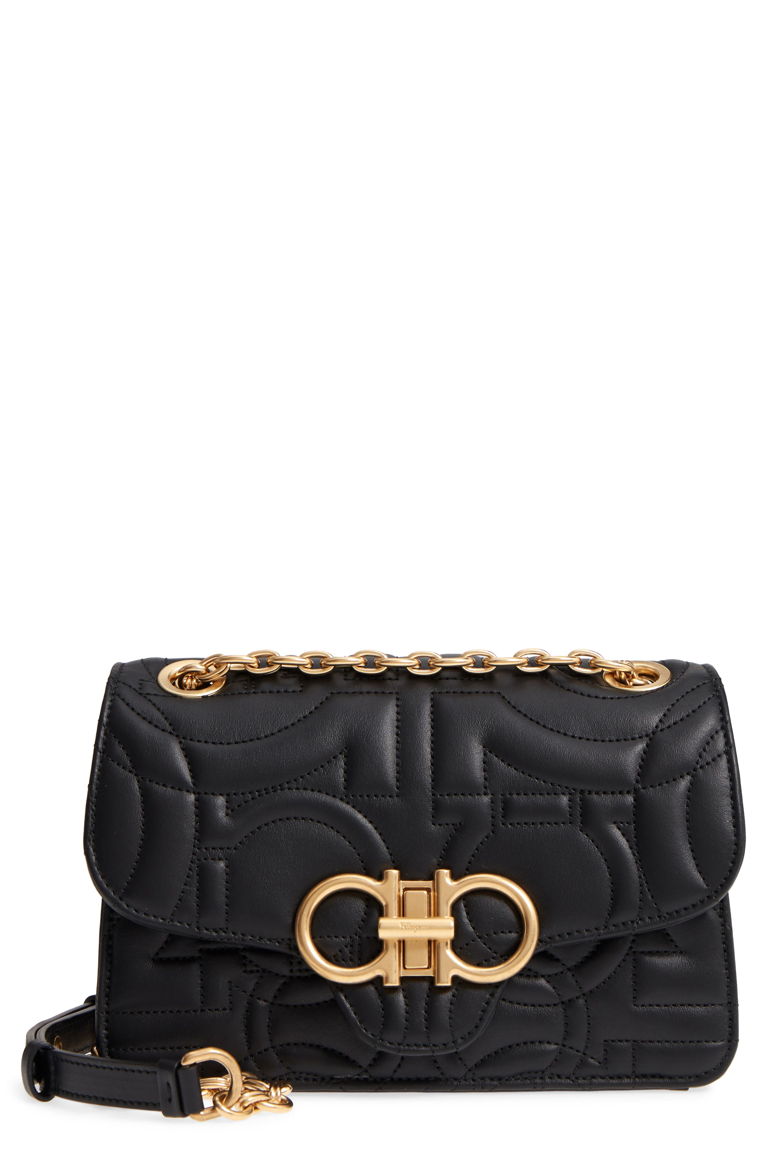 Quilted Gancio Leather Shoulder Bag,                             Main thumbnail 1, color,                             NERO