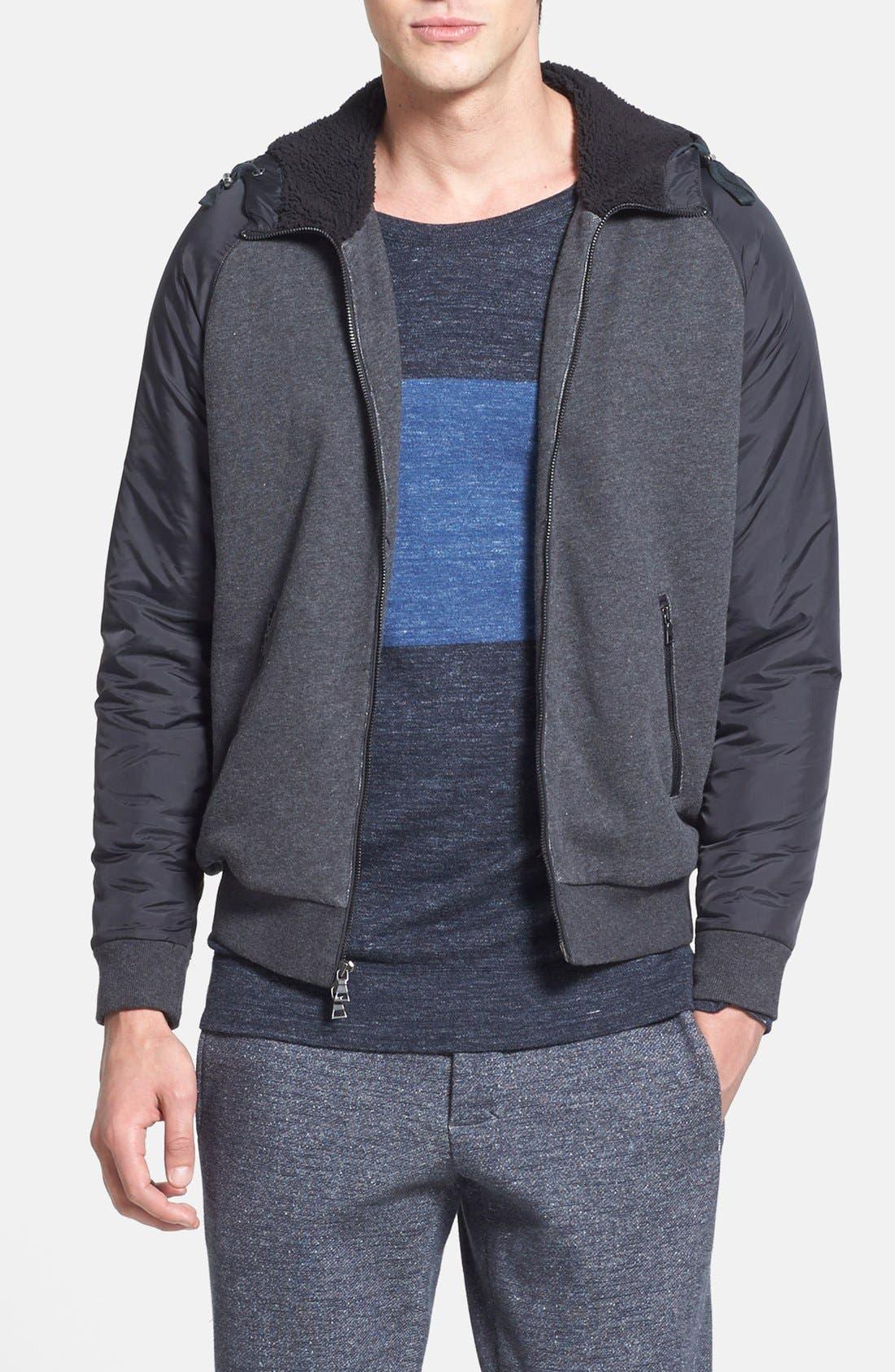 VINCE Faux Fur Lined Zip Hoodie, Main, color, 008