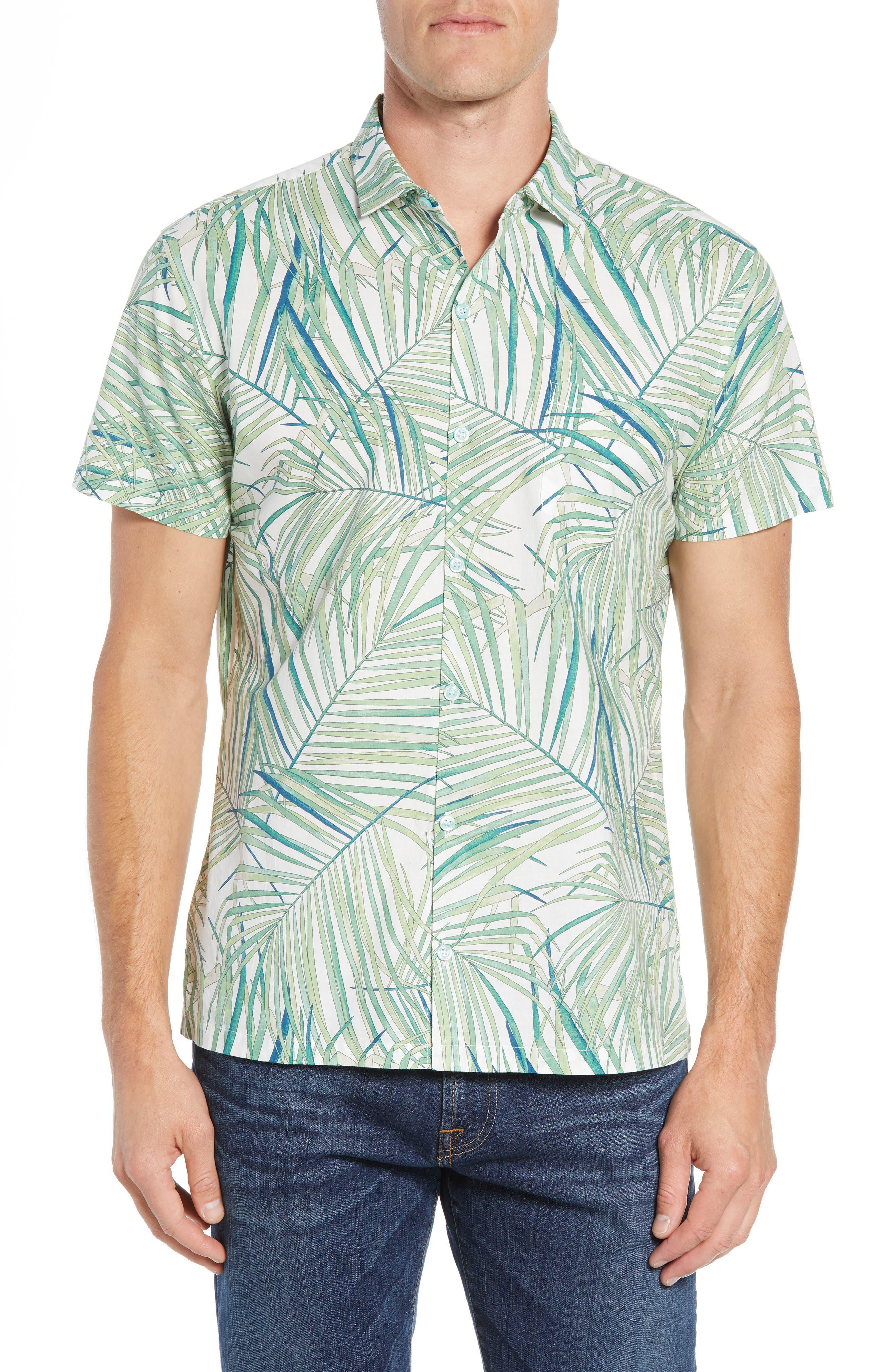 Kentia Trim Fit Palm Print Sport Shirt,                         Main,                         color, 100