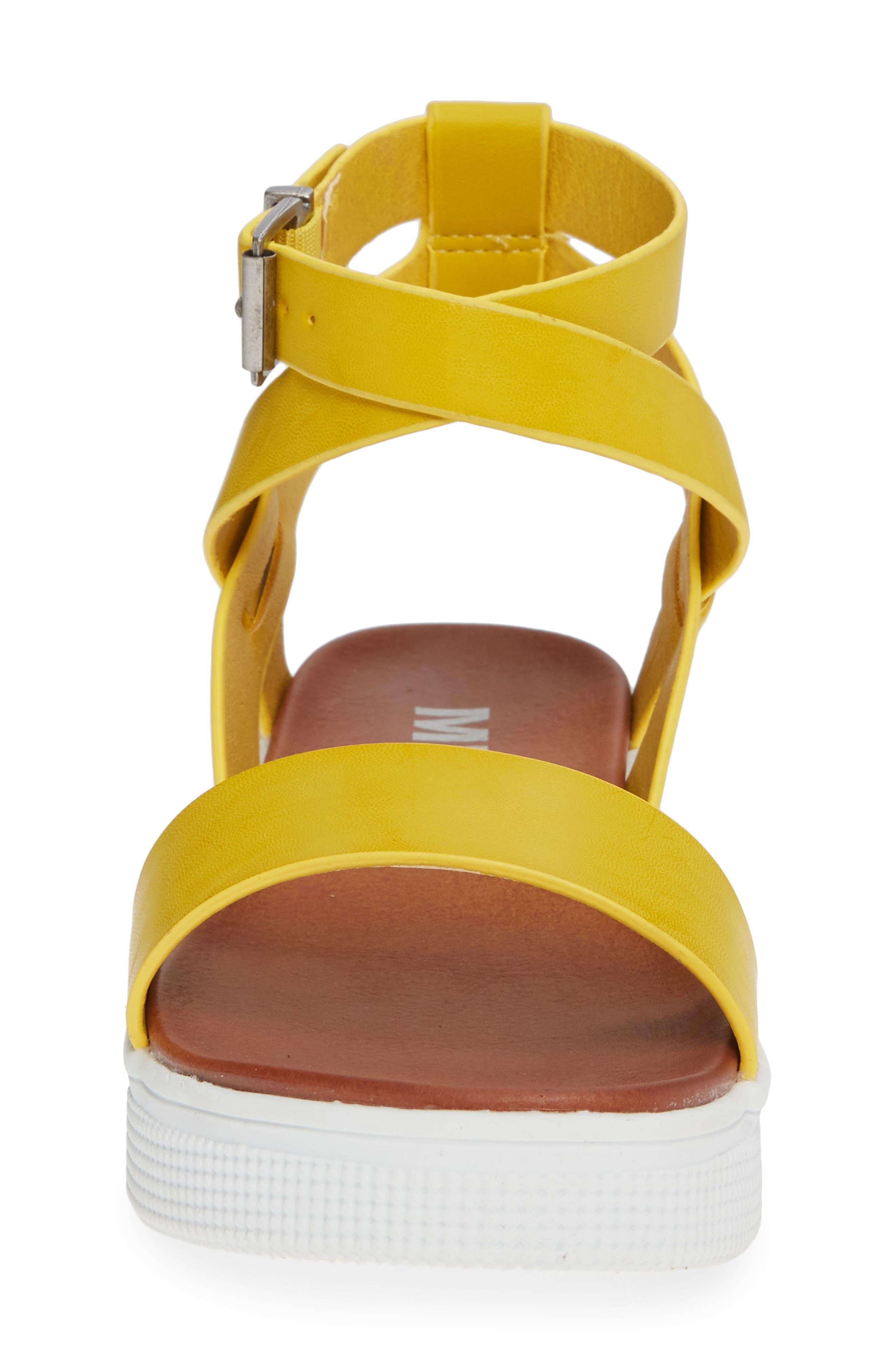 Calla Platform Sandal,                             Alternate thumbnail 4, color,                             YELLOW FAUX LEATHER