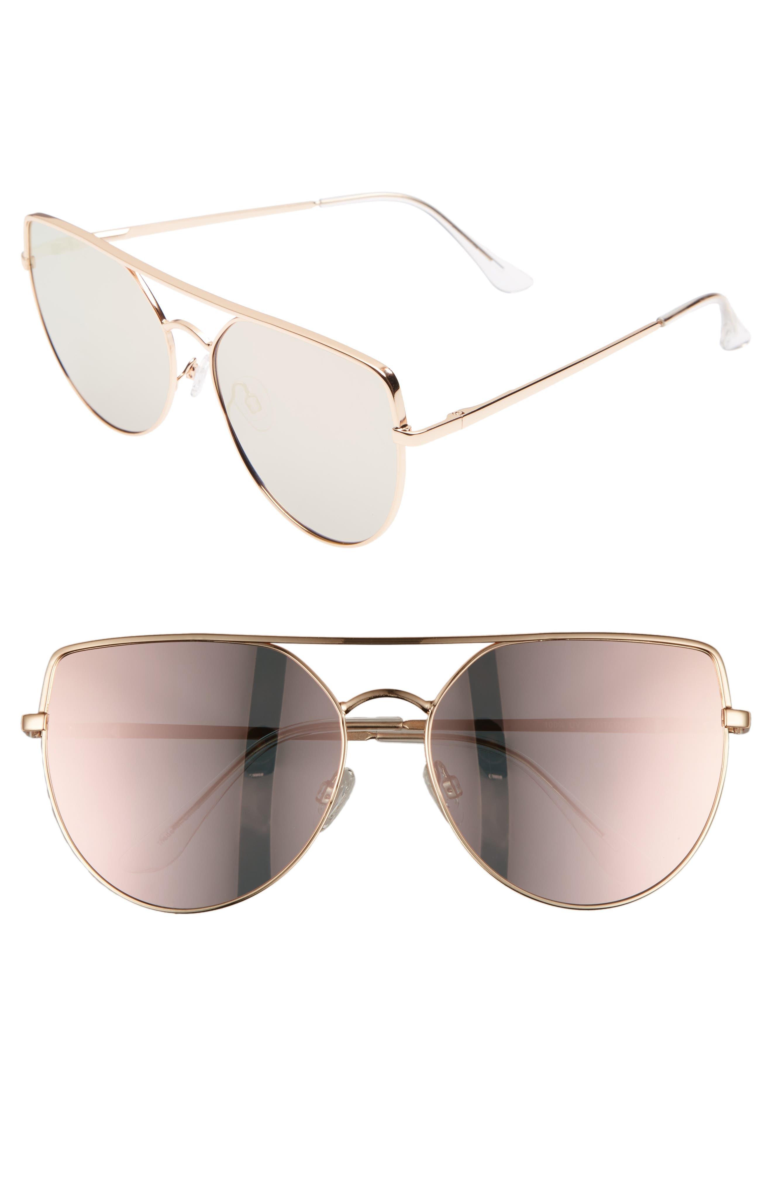 60mm Aviator Sunglasses,                             Main thumbnail 1, color,                             220