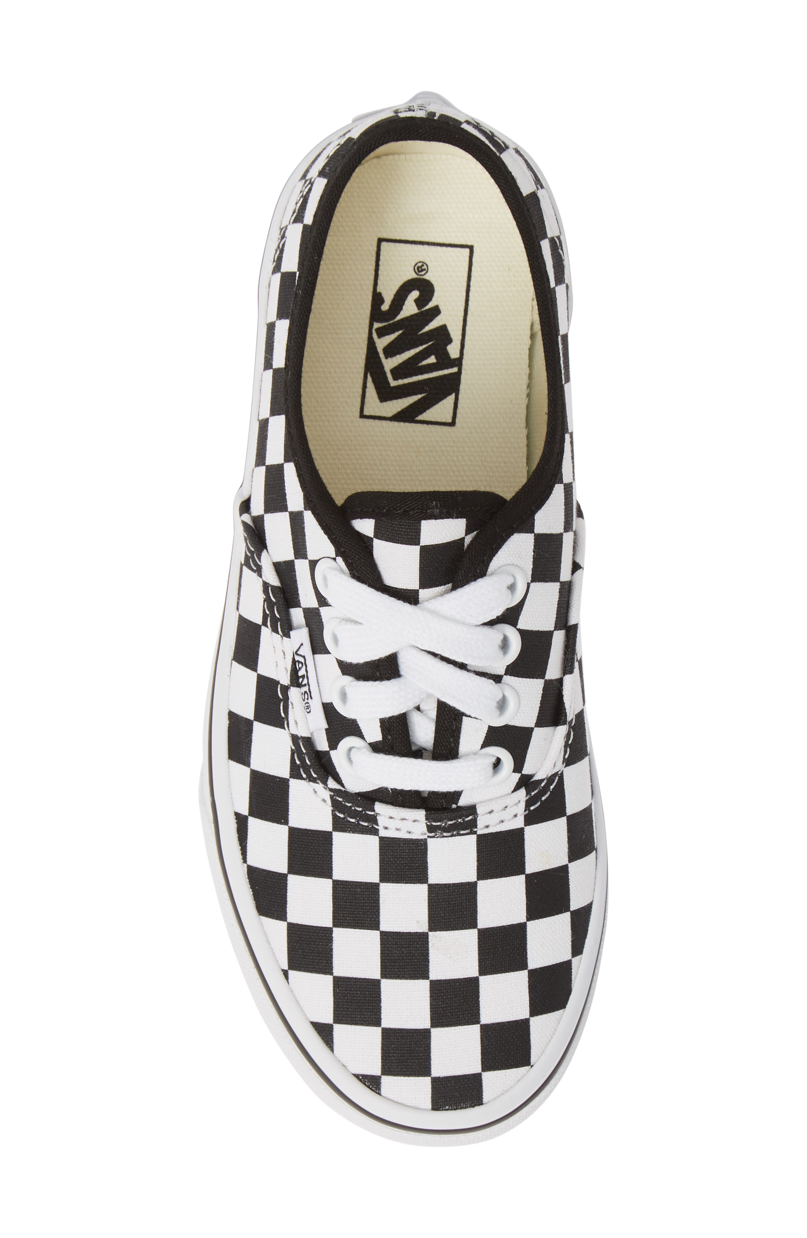 Authentic Elastic Lace Sneaker,                             Alternate thumbnail 5, color,                             BLACK/ TRUE WHITE