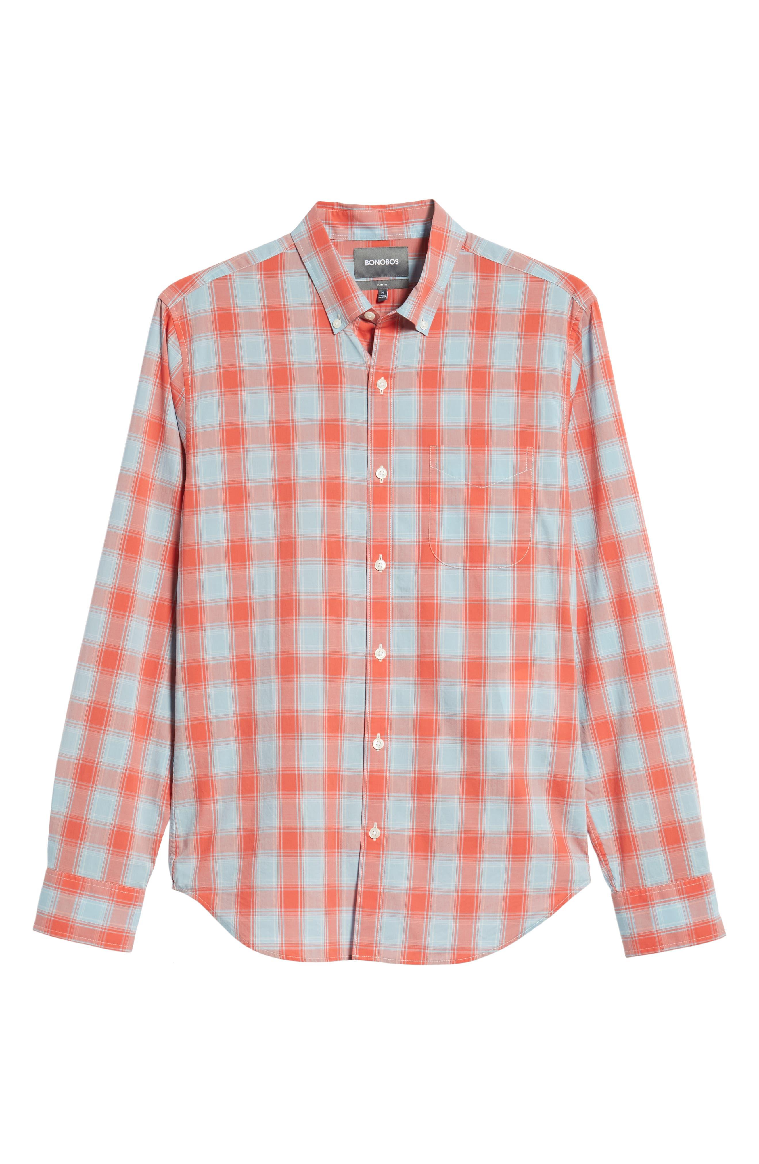 Summerweight Slim Fit Plaid Sport Shirt,                             Alternate thumbnail 5, color,                             FOX LAIR - CORAL FAN