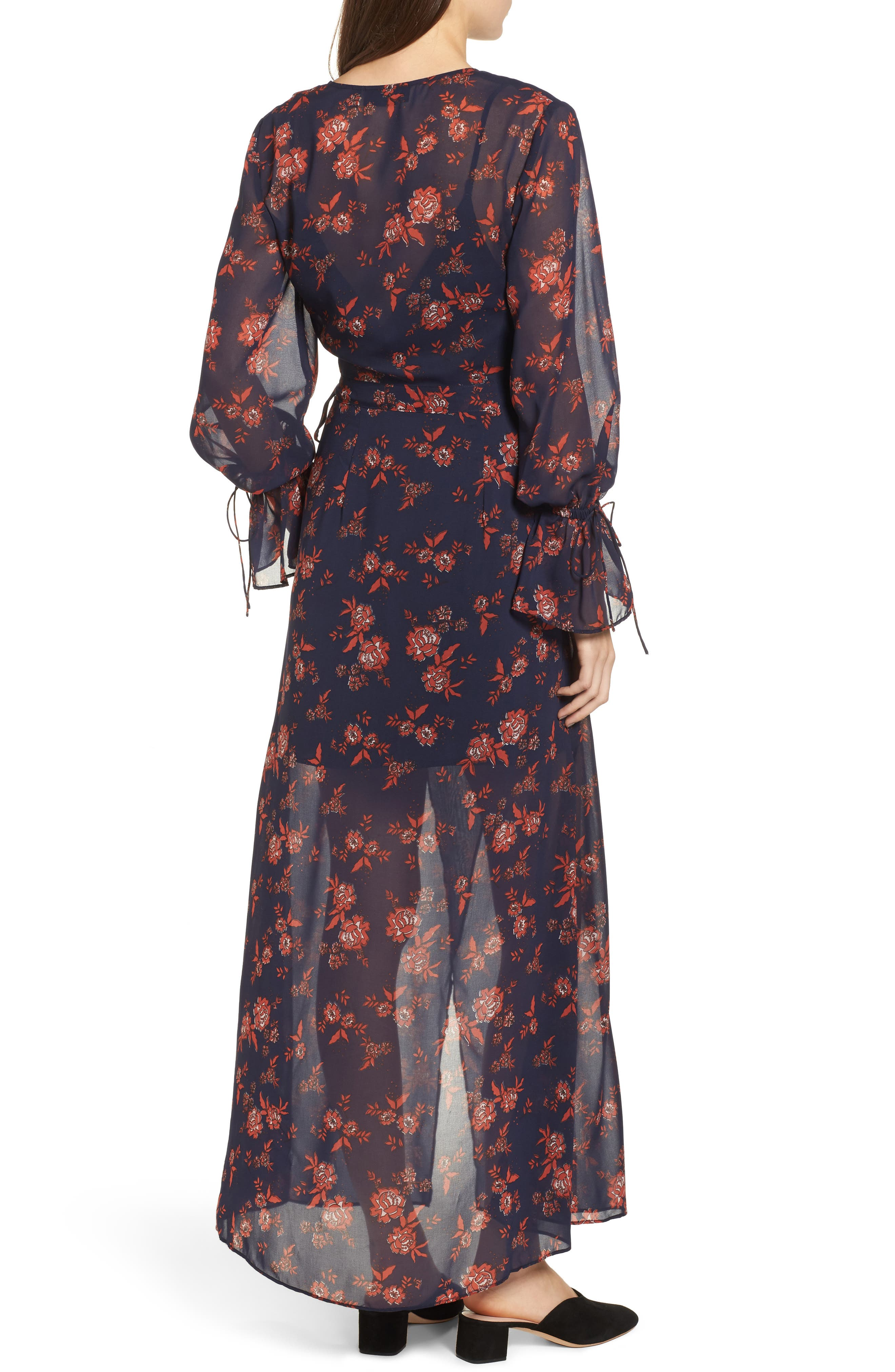Capital Floral Wrap Maxi Dress,                             Alternate thumbnail 2, color,                             413