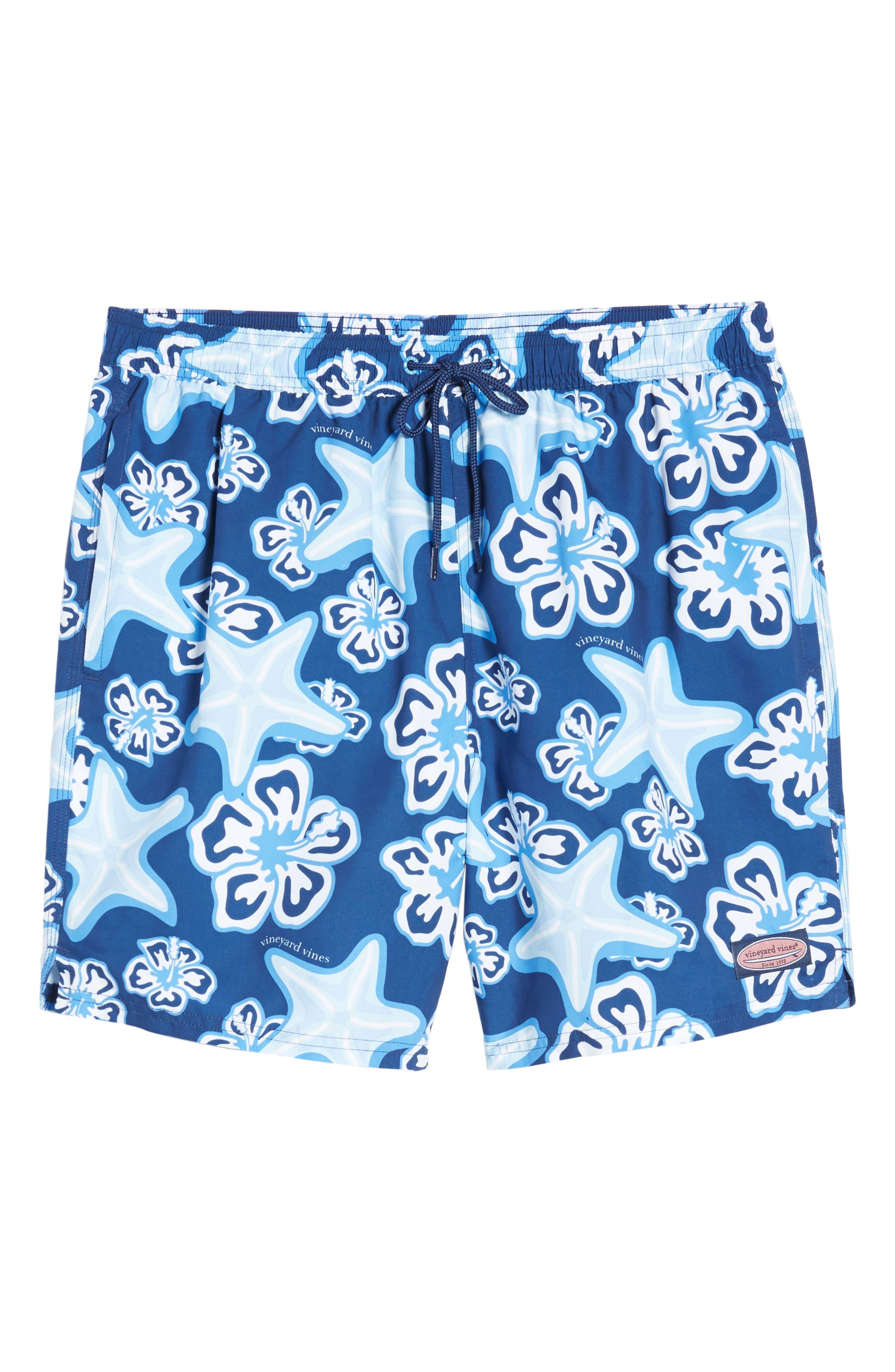 Chappy Starfish Swim Trunks,                             Alternate thumbnail 6, color,                             BLUE DEPTH