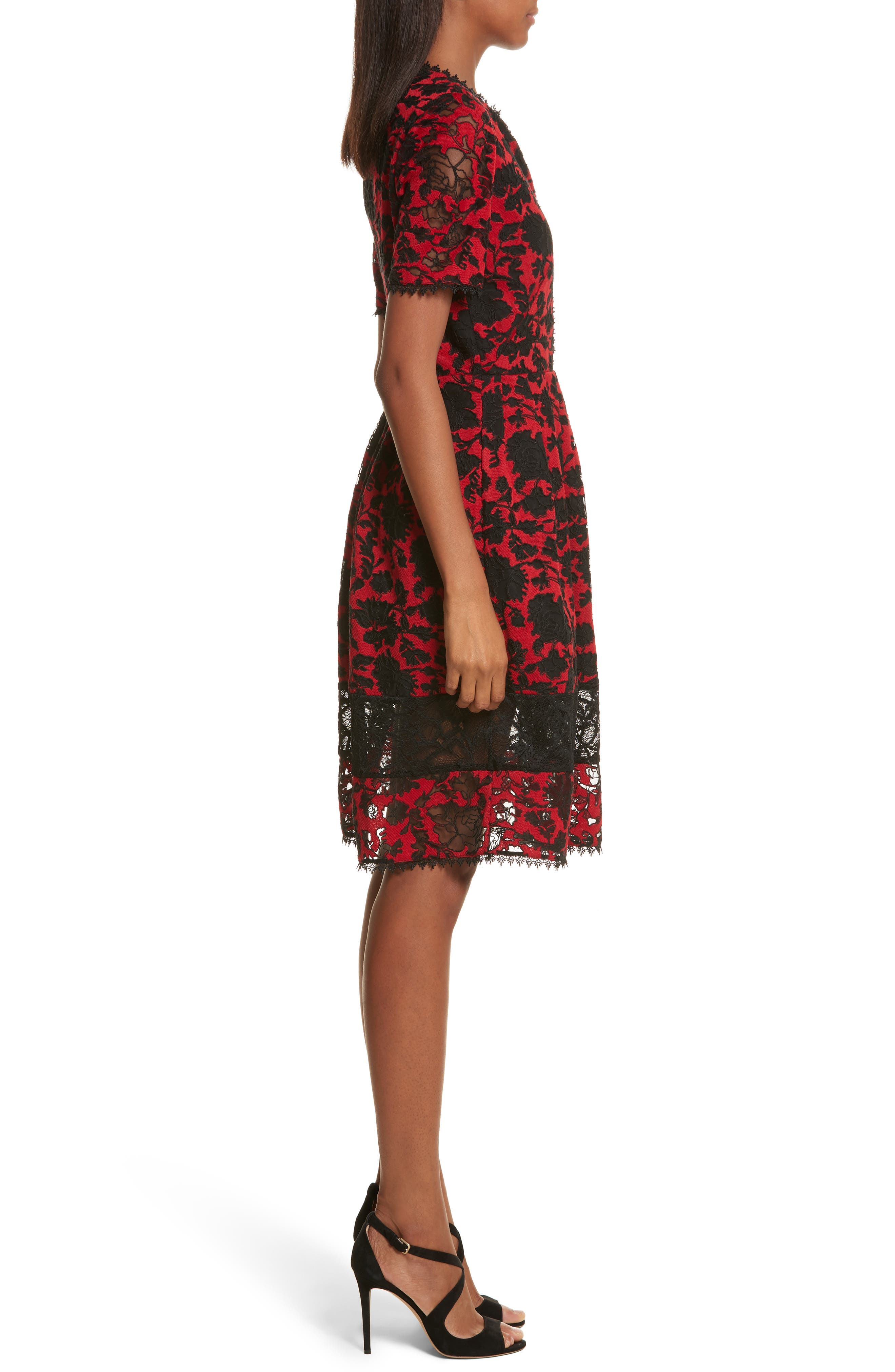 Embroidered Tulle Dress,                             Alternate thumbnail 3, color,                             610
