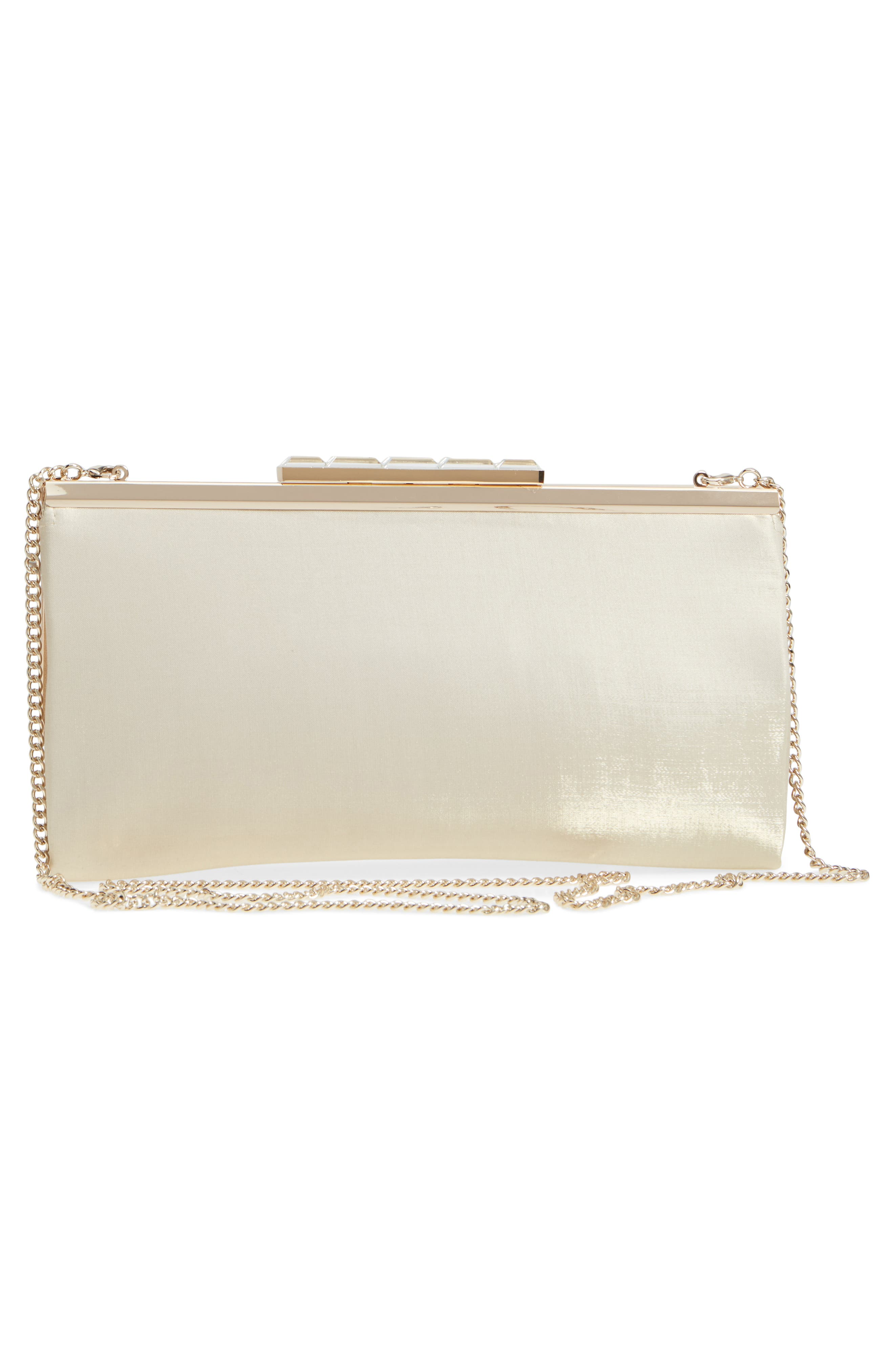 Crystal Clasp Shimmer Clutch,                             Alternate thumbnail 3, color,                             270