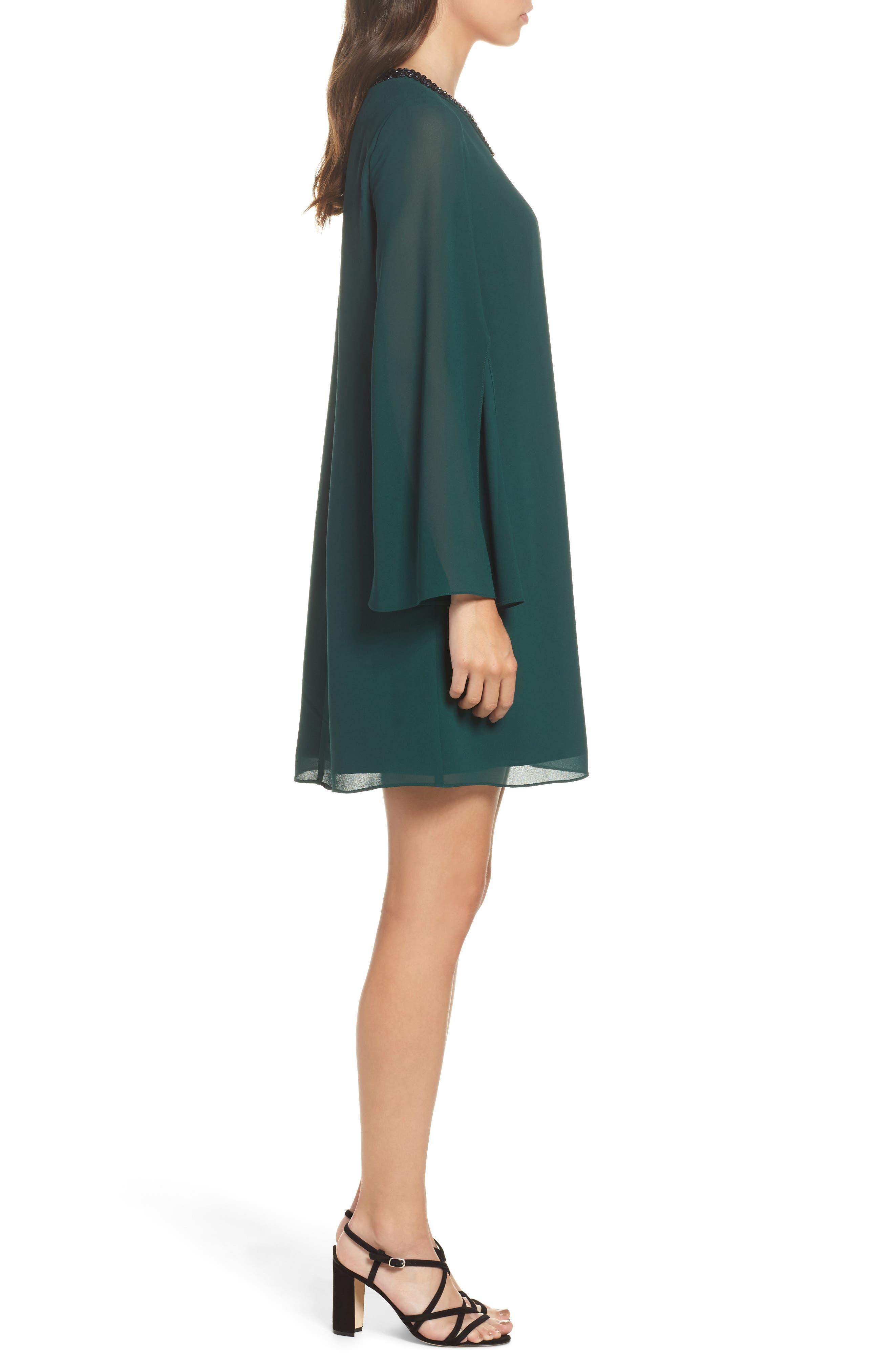 Embellished Chiffon Shift Dress,                             Alternate thumbnail 3, color,                             302