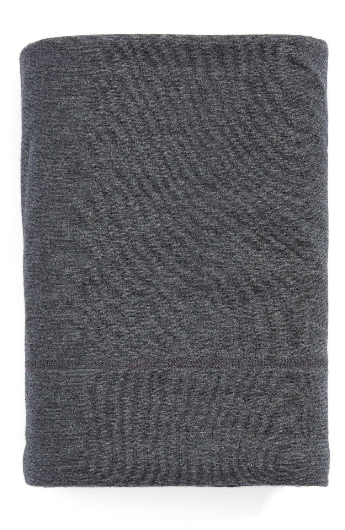 Calvin Klein Modern Cotton Collection Cotton & Modal Flat Sheet,                             Main thumbnail 1, color,                             CHARCOAL
