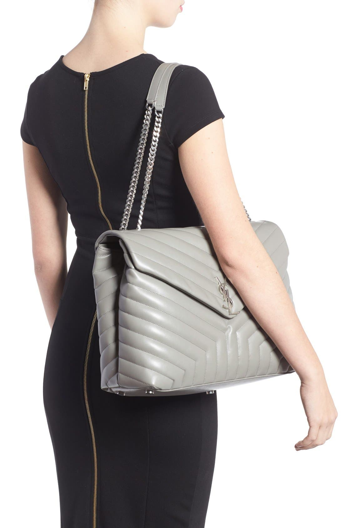 Monogram Quilted Leather Slouchy Shoulder Bag,                             Alternate thumbnail 5, color,                             OYSTER