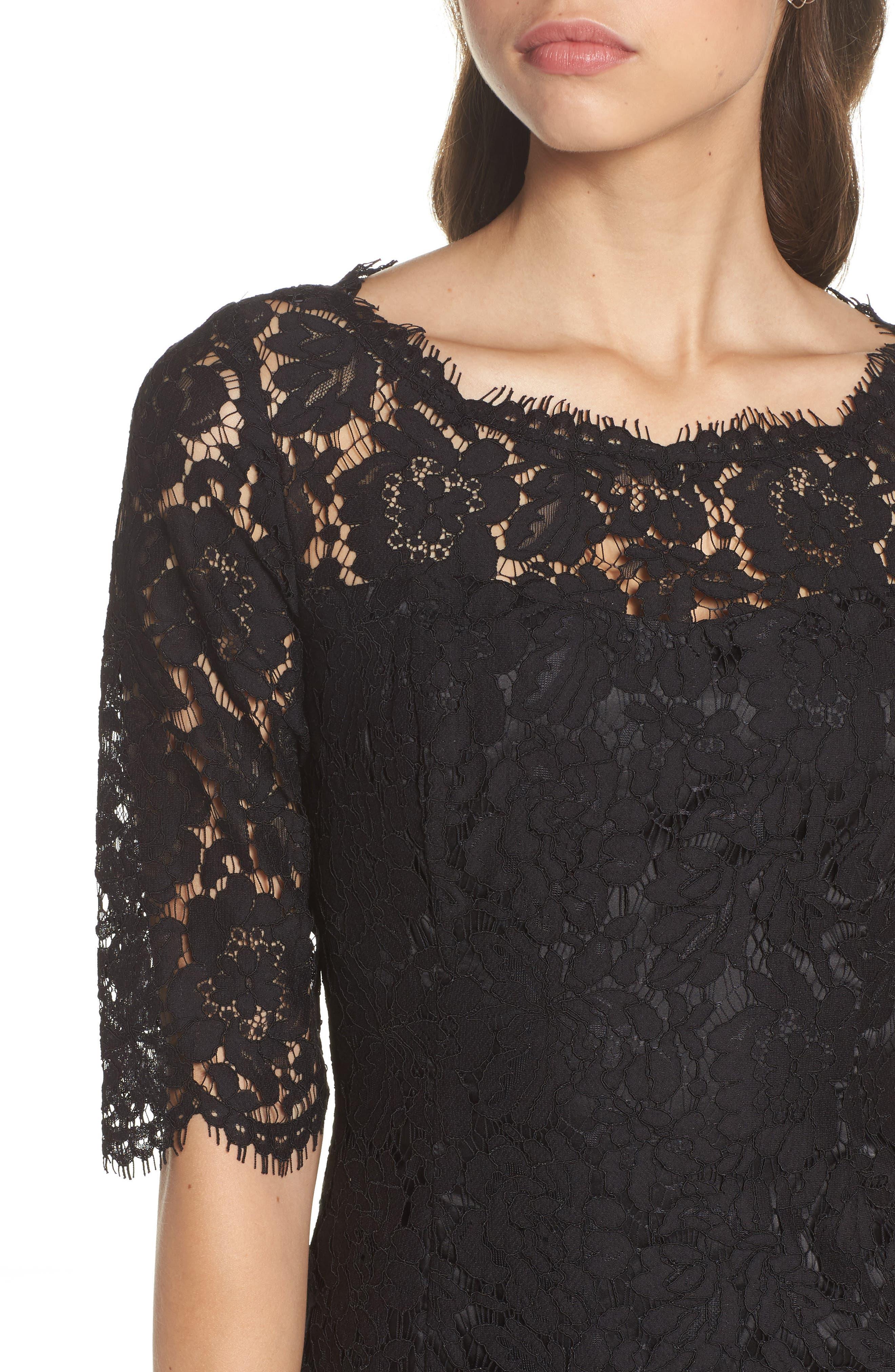 Lace Fit & Flare Cocktail Dress,                             Alternate thumbnail 4, color,                             BLACK
