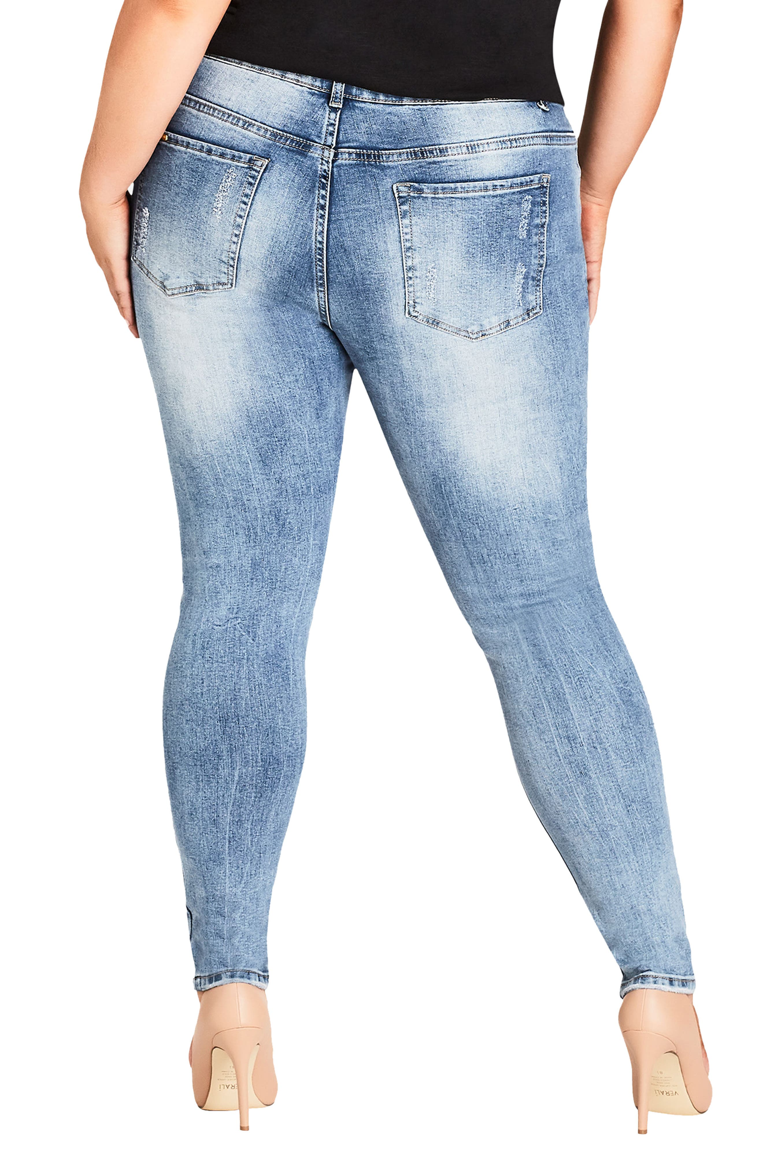 Asha Patched Ankle Skinny Jeans,                             Alternate thumbnail 2, color,                             DENIM MID