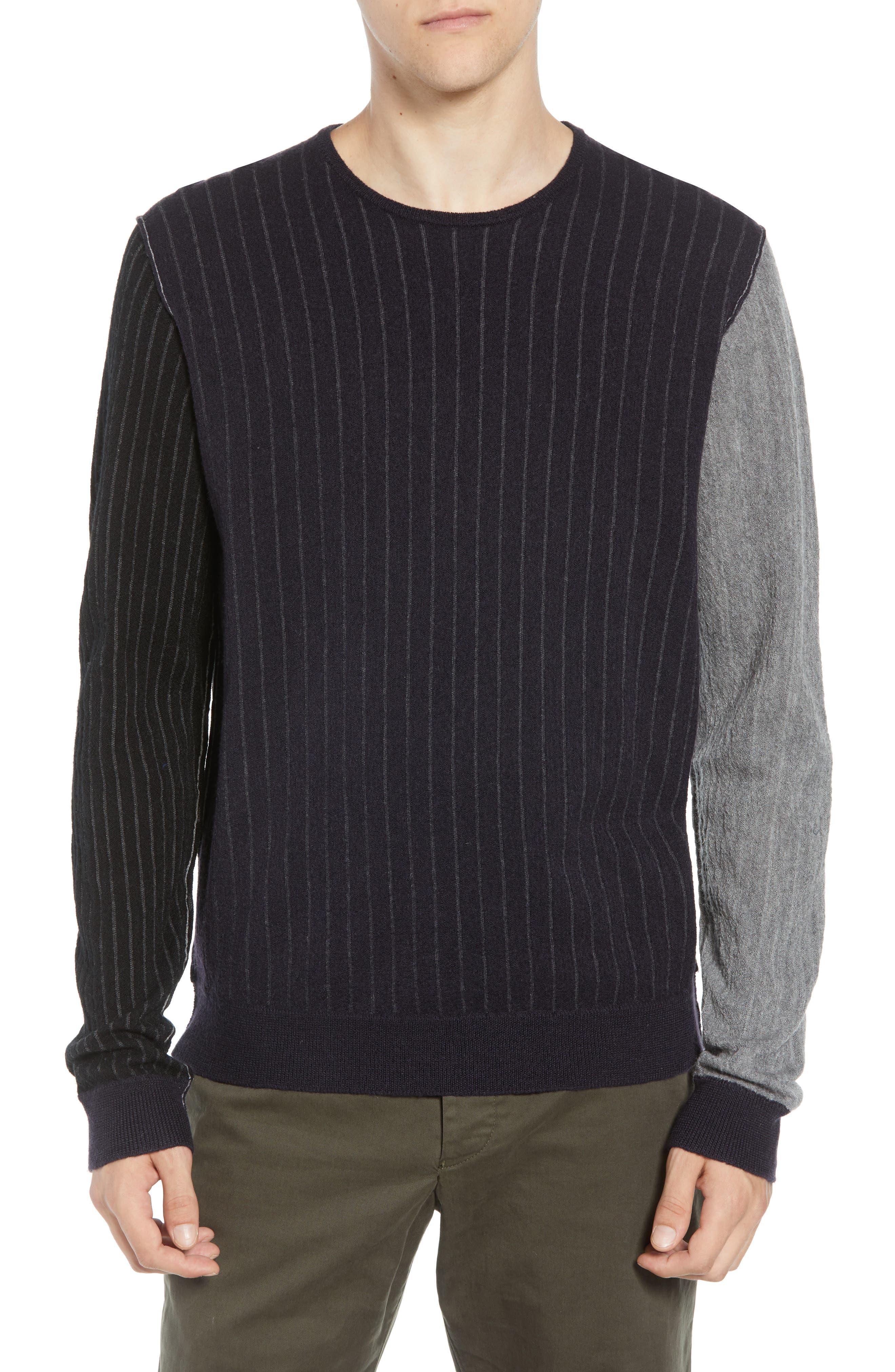 Boiled Wool Blend Crewneck Sweater,                         Main,                         color, MULTI STRIPE