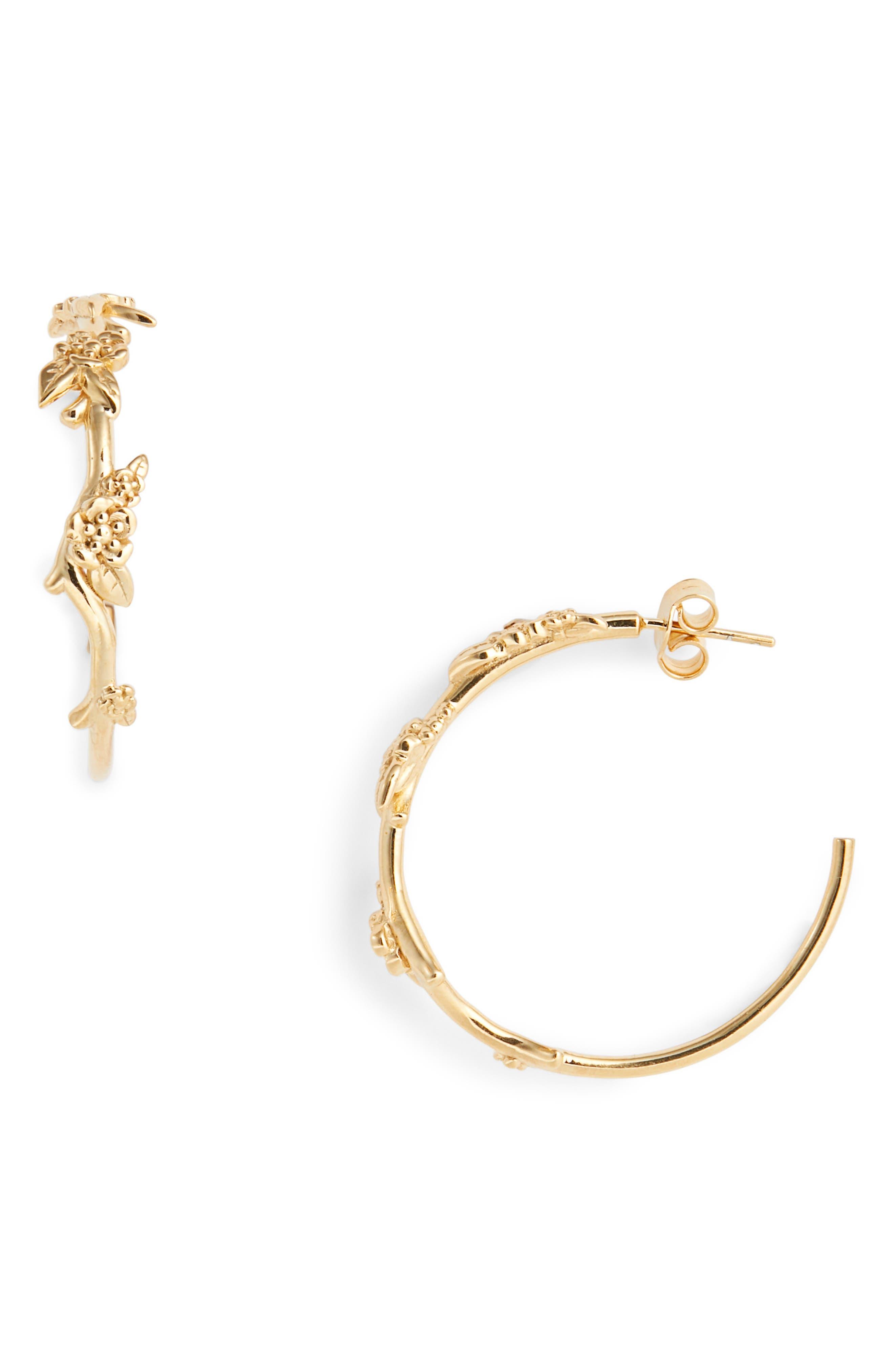 Large Alba Hoop Earrings,                             Main thumbnail 1, color,                             GOLD PLATED