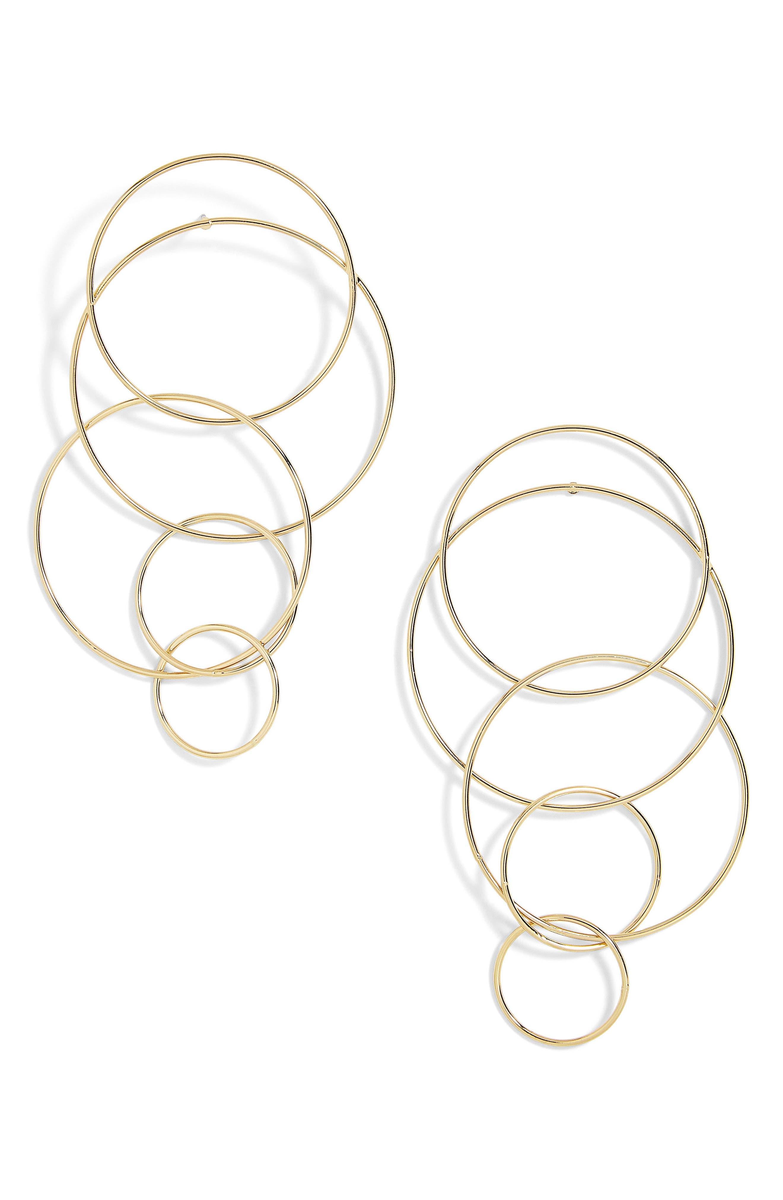 Mixed Size Layered Hoop Earrings,                             Main thumbnail 1, color,                             710