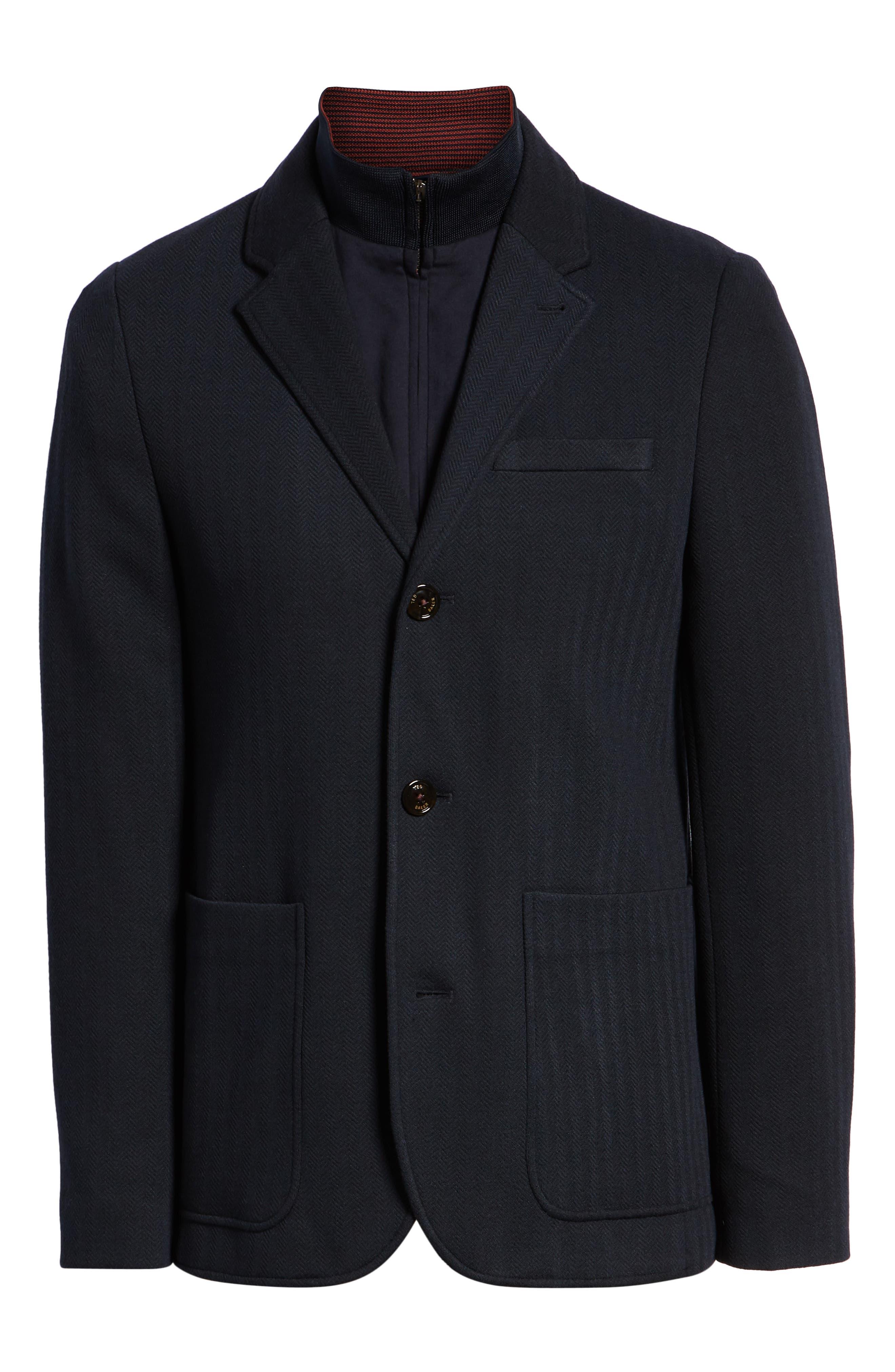 Glenny Slim Fit Layered Look Blazer,                             Alternate thumbnail 5, color,                             NAVY