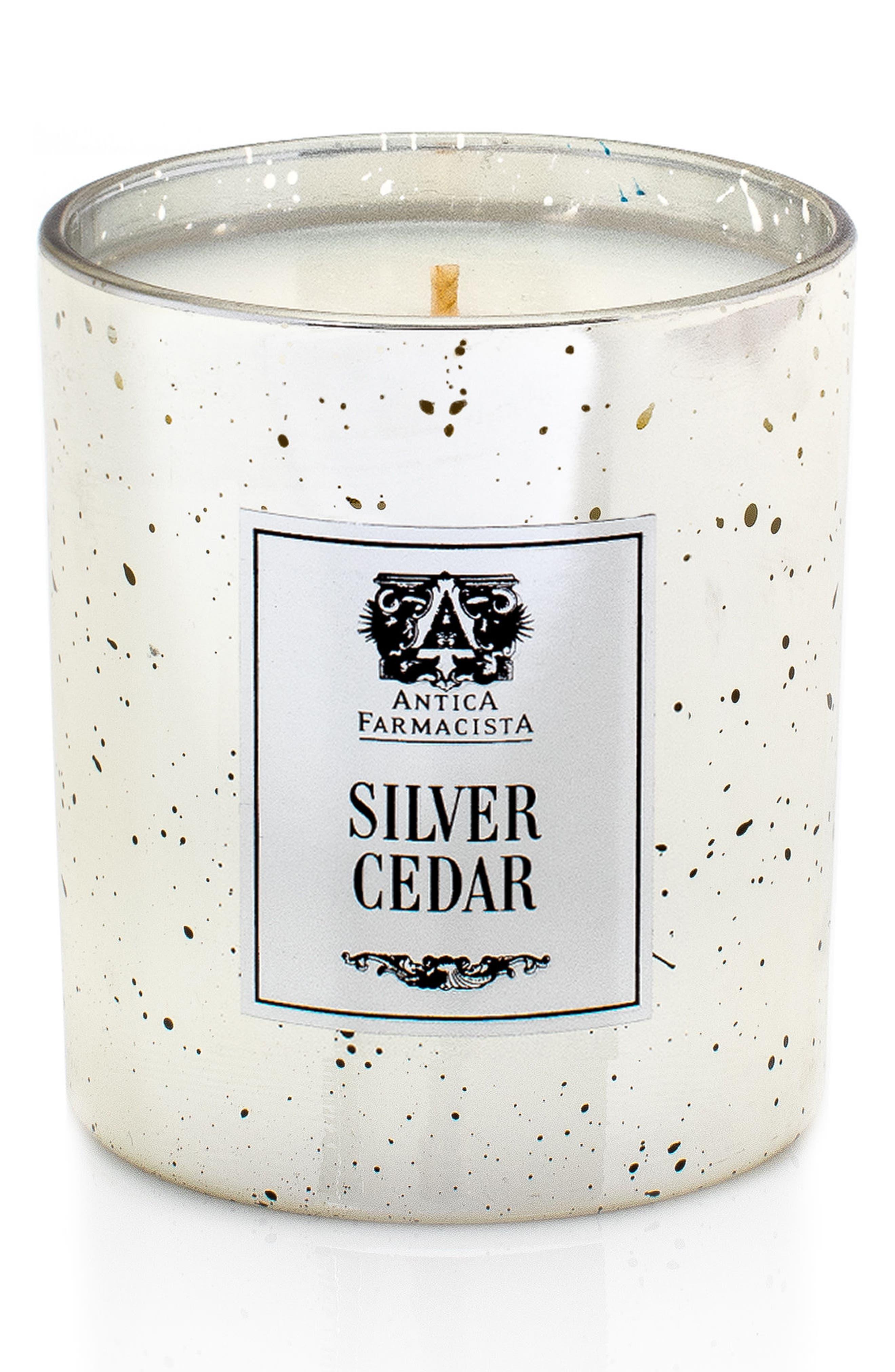 Silver Cedar Mercury Glass Candle,                         Main,                         color, 000