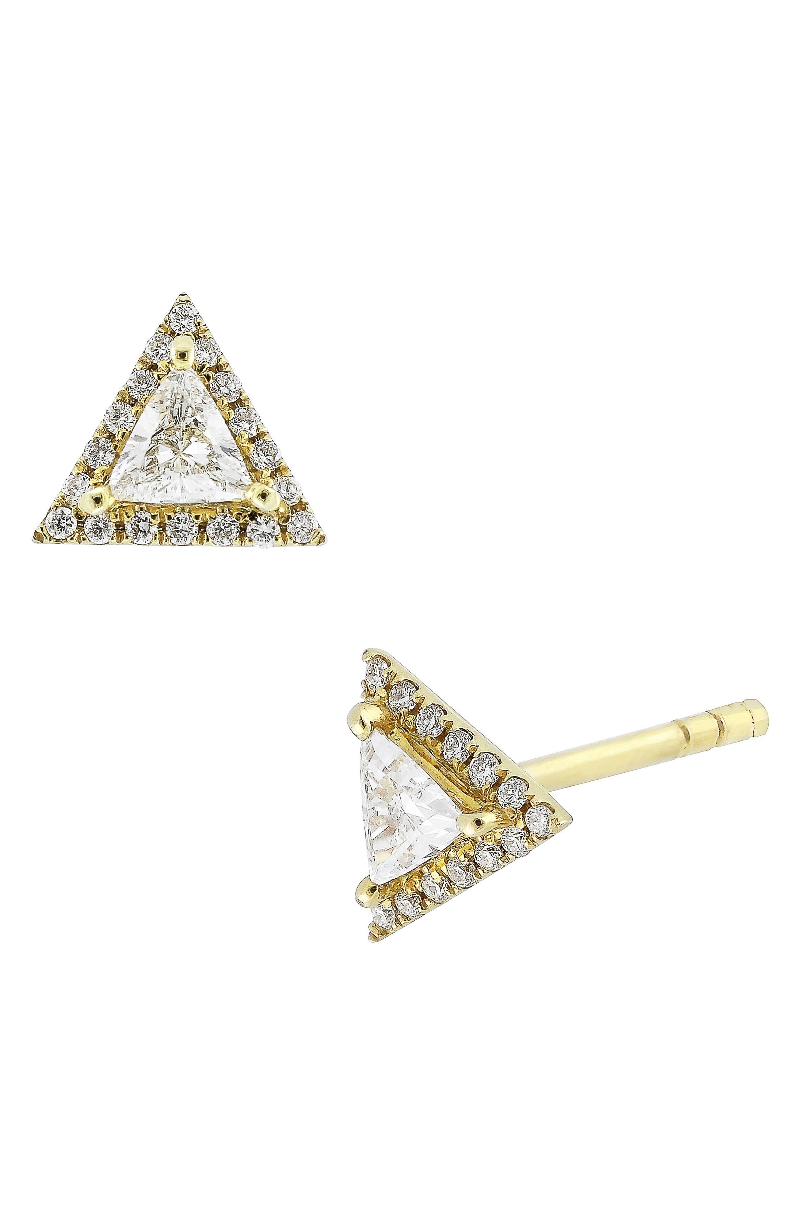 Diamond Triangle Stud Earrings,                             Main thumbnail 1, color,                             YELLOW GOLD