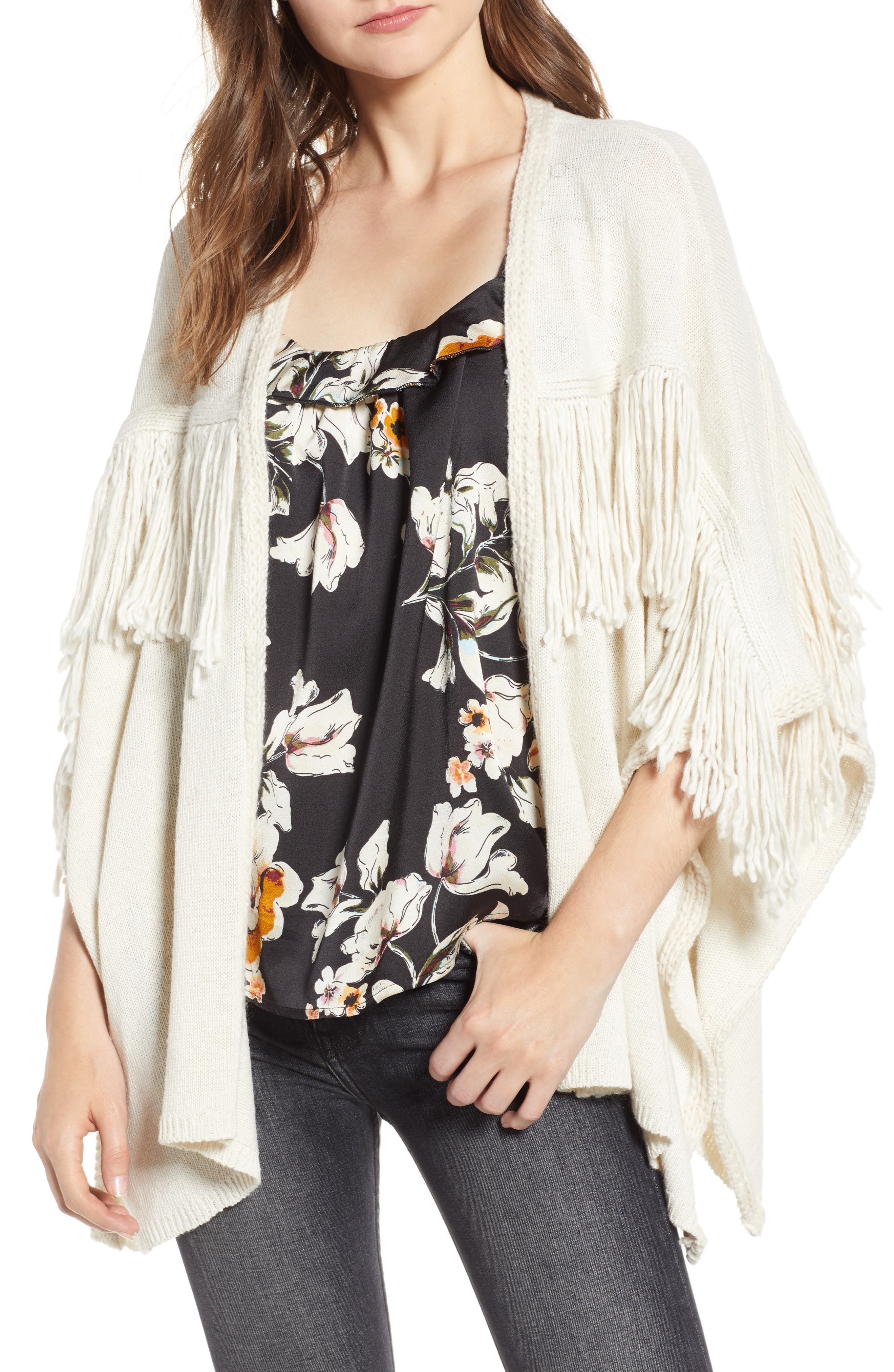 Bishop + Young Fringe Open Front Cardigan,                             Main thumbnail 1, color,                             IVORY