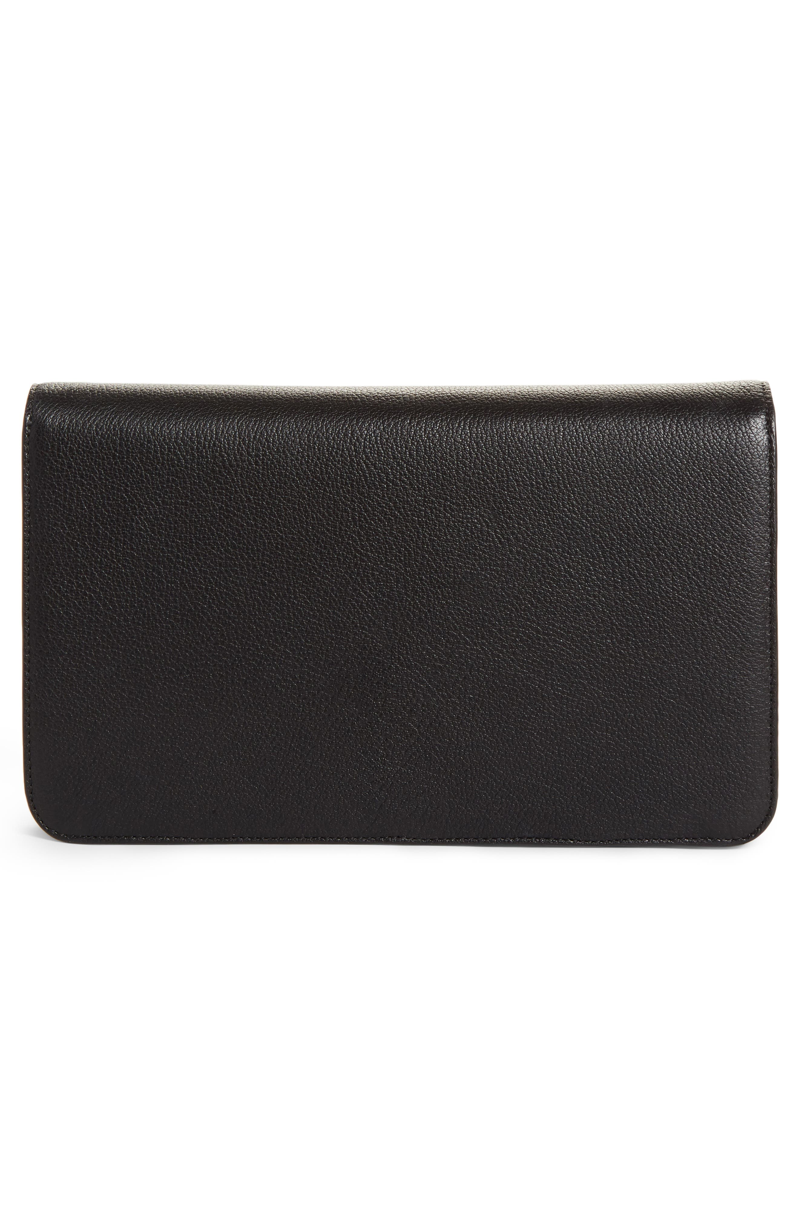 Heart Leather Clutch,                             Alternate thumbnail 3, color,                             001