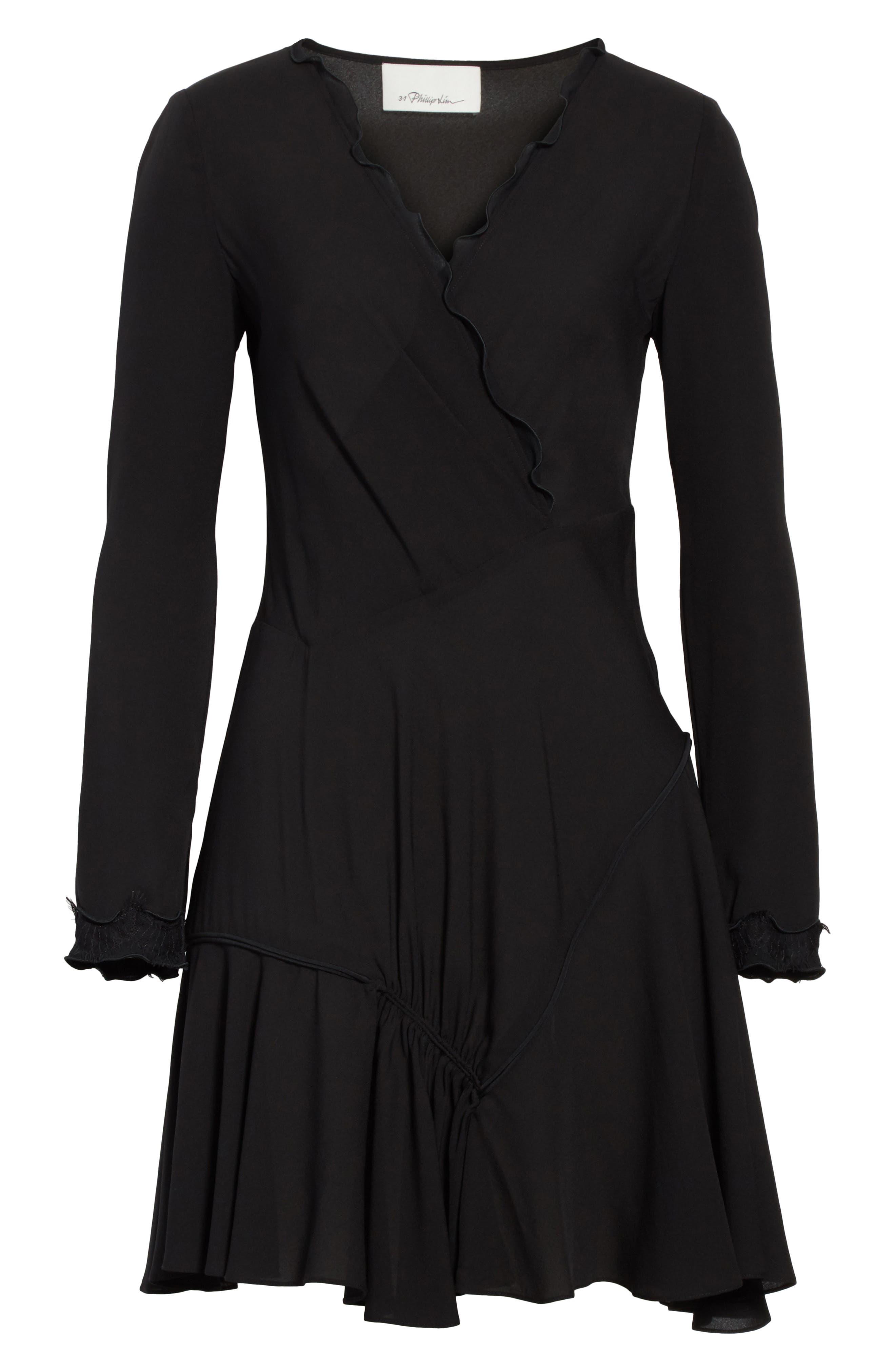Ruffle Edge Silk Dress,                             Alternate thumbnail 6, color,                             001