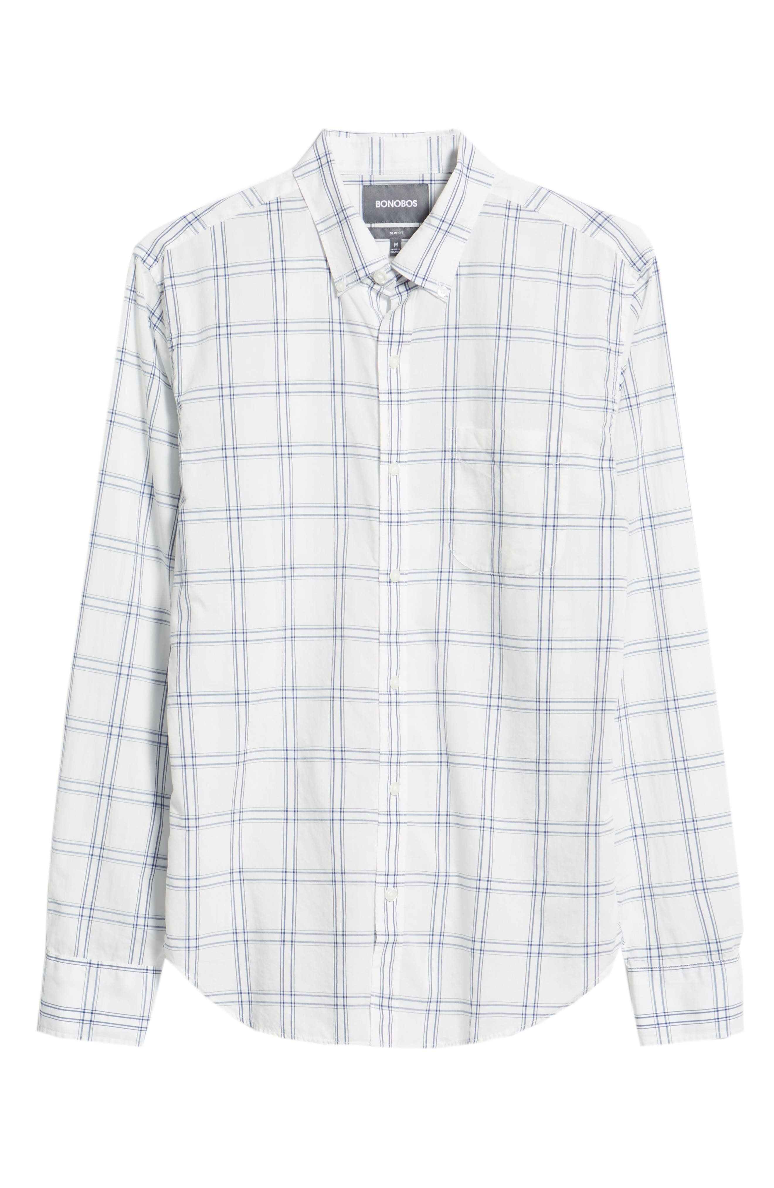 Summerweight Slim Fit Plaid Sport Shirt,                             Alternate thumbnail 5, color,                             100