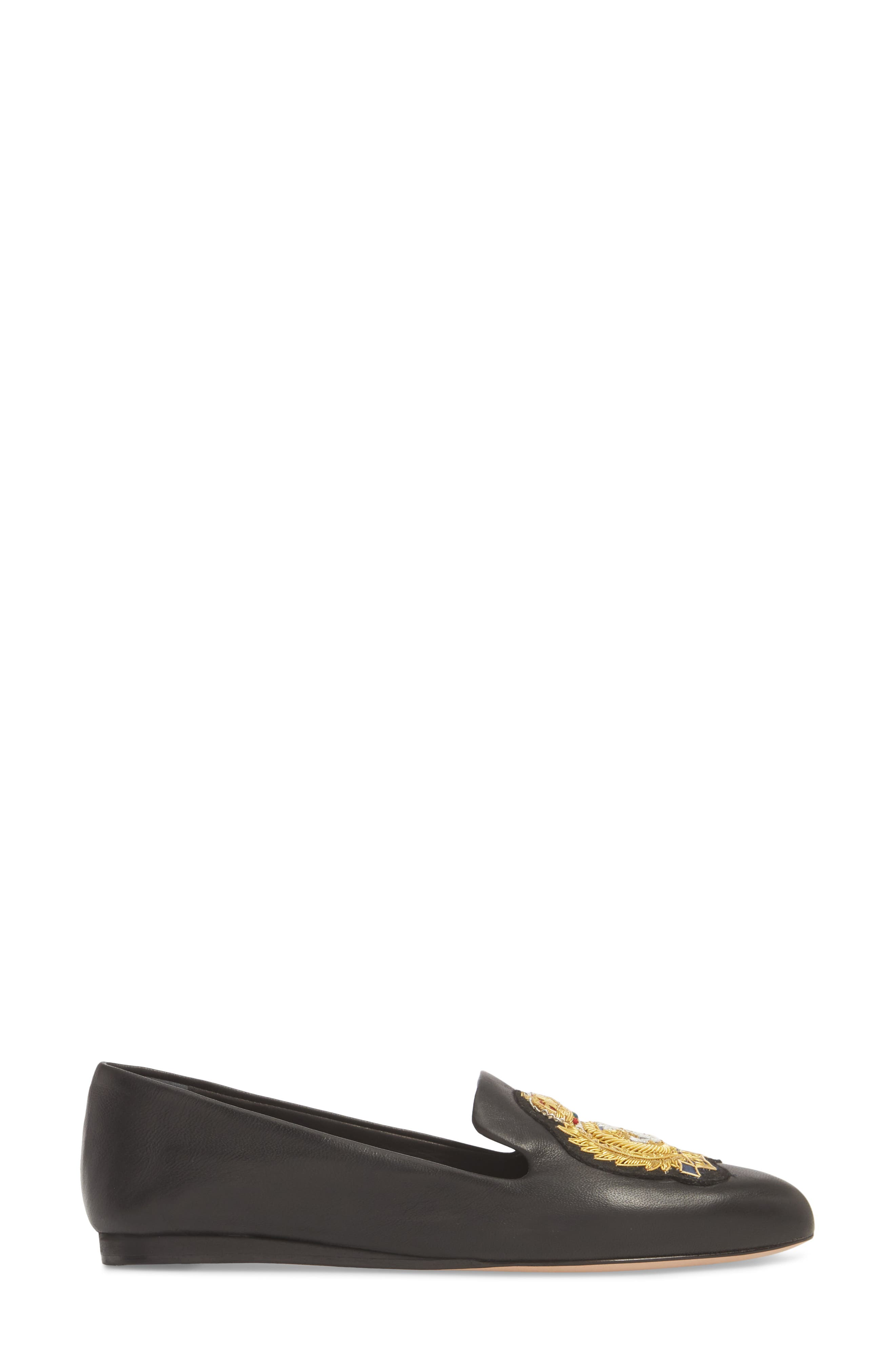 Griffin Pointy Toe Loafer,                             Alternate thumbnail 3, color,                             BLACK LEATHER
