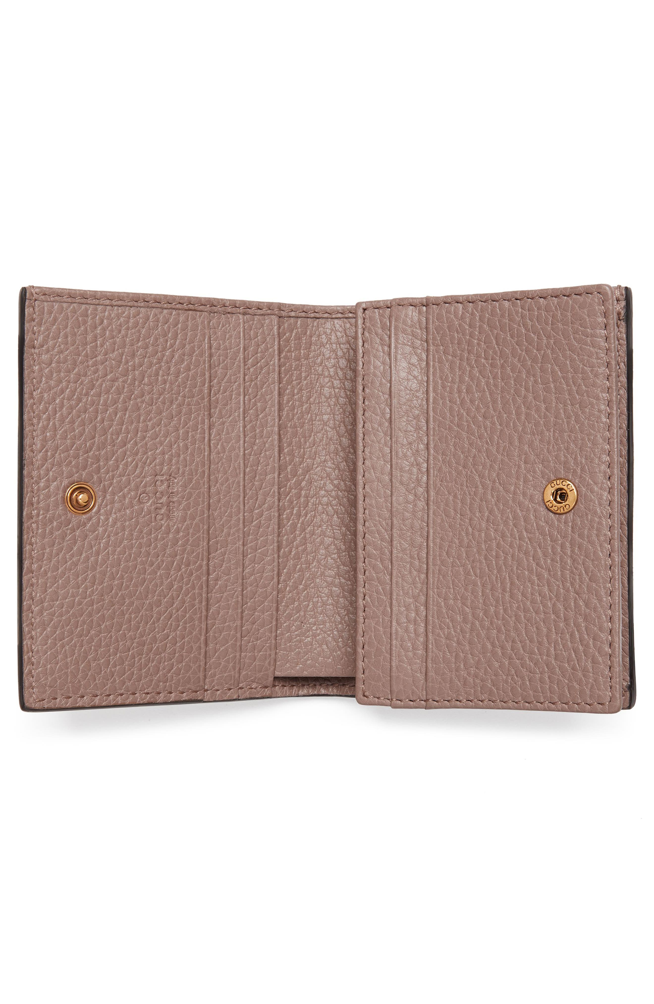 Animalier Bee Leather Card Case,                             Alternate thumbnail 2, color,                             PORCELAIN ROSE