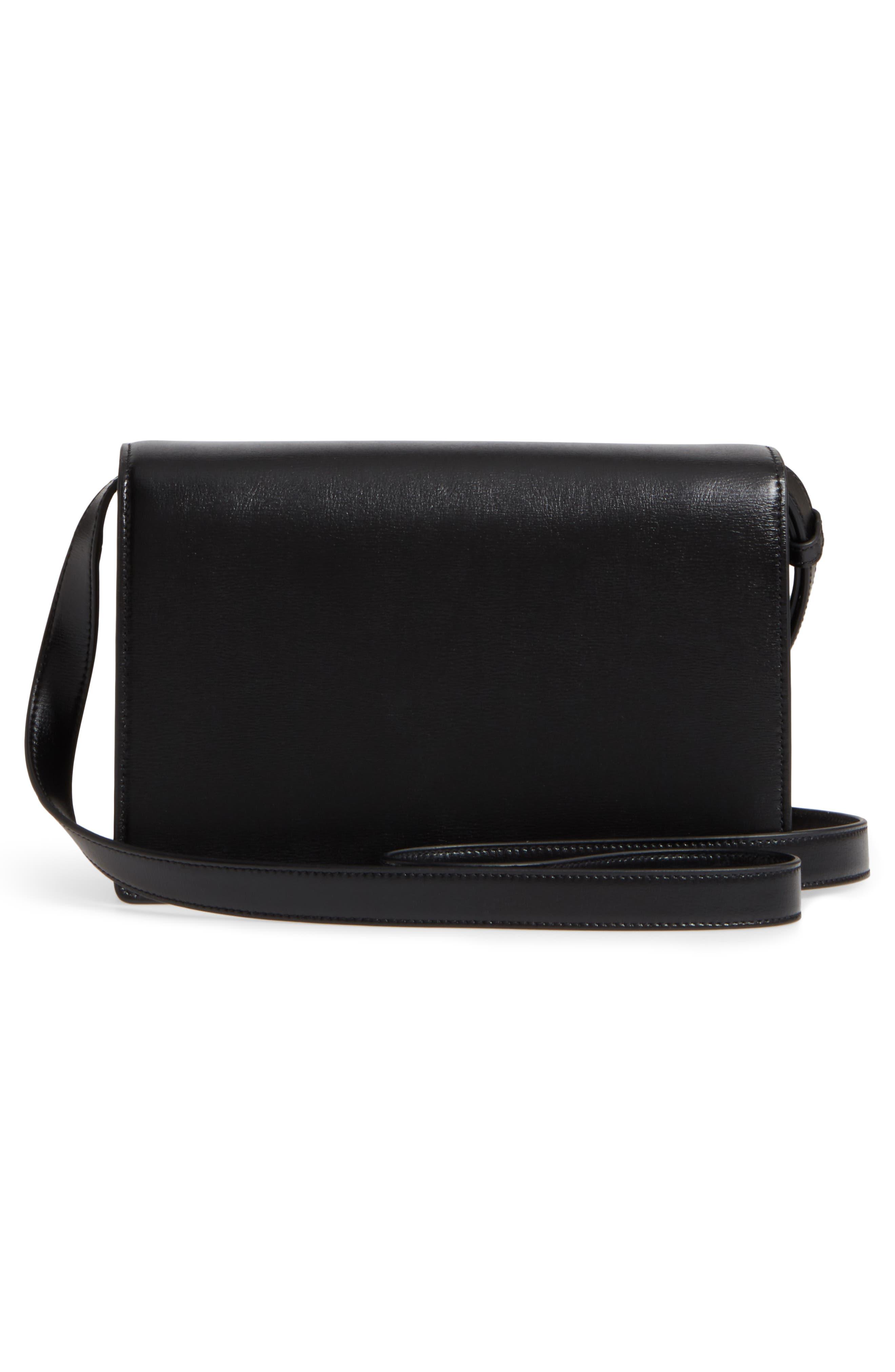 Medium Bellechasse Suede & Leather Shoulder Bag,                             Alternate thumbnail 3, color,                             NOIR