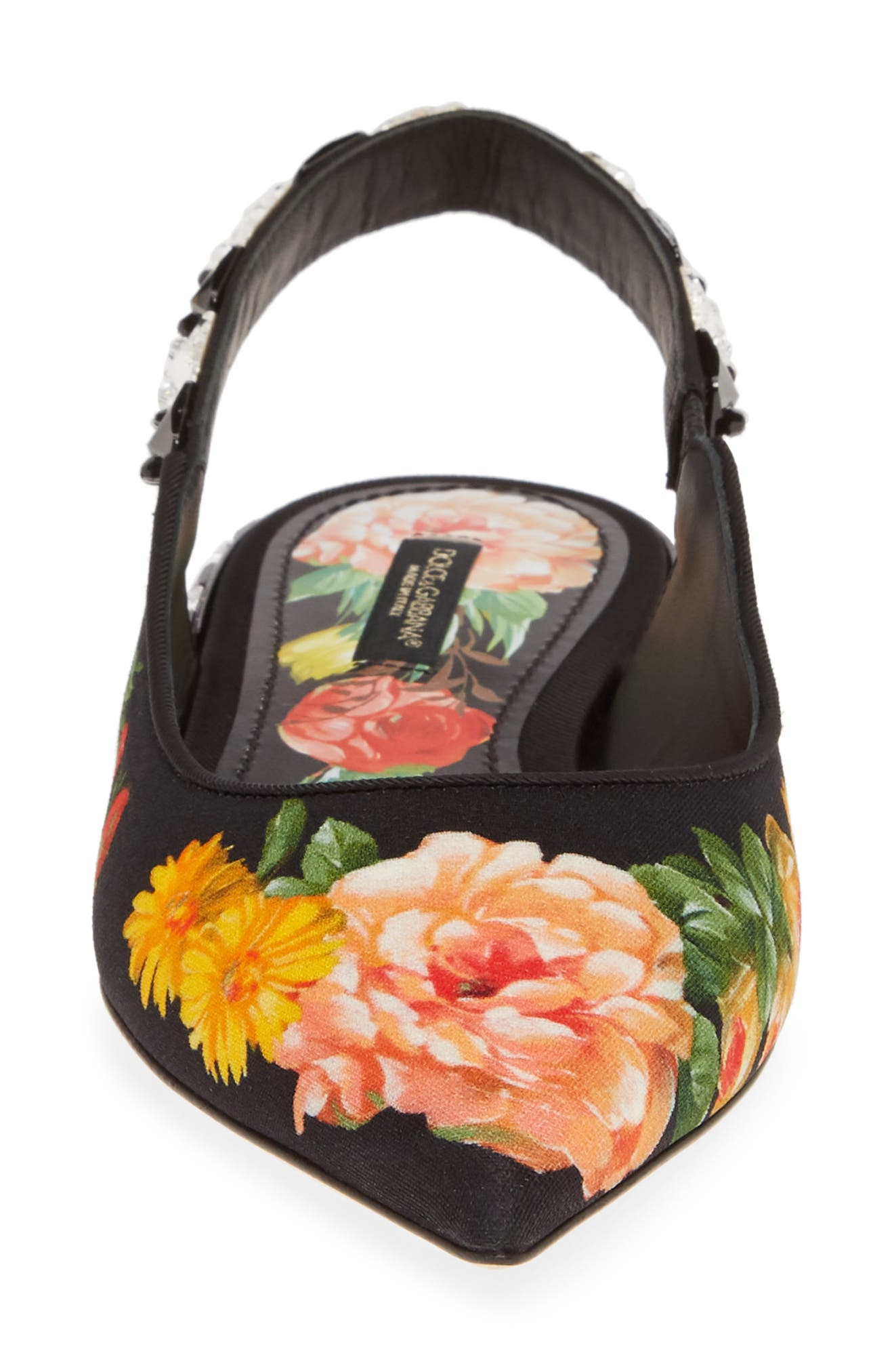 DOLCE&GABBANA,                             Floral Print Slingback Flat,                             Alternate thumbnail 4, color,                             FLORAL PRINT