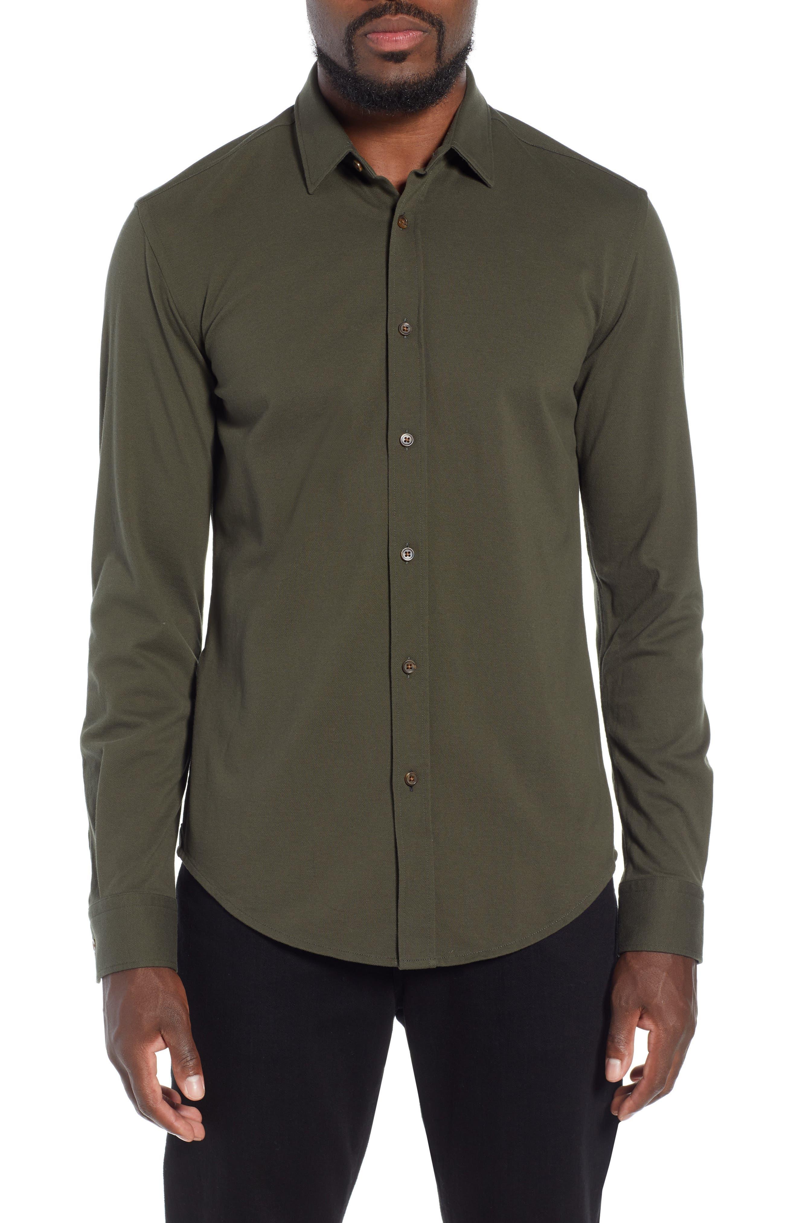 Ronni Slim Fit Solid Sport Shirt,                             Main thumbnail 1, color,                             GREEN