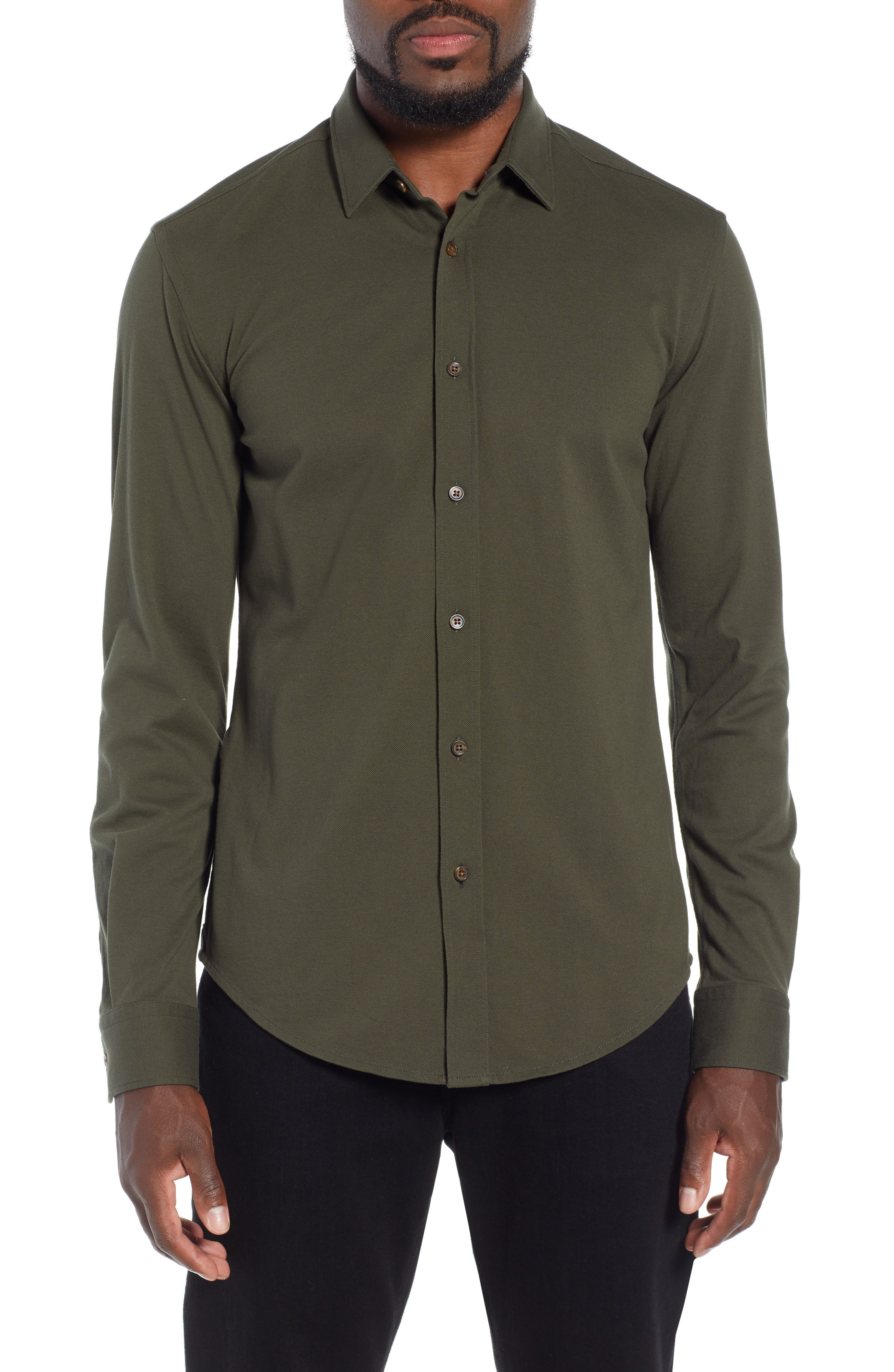 Ronni Slim Fit Solid Sport Shirt,                         Main,                         color, GREEN