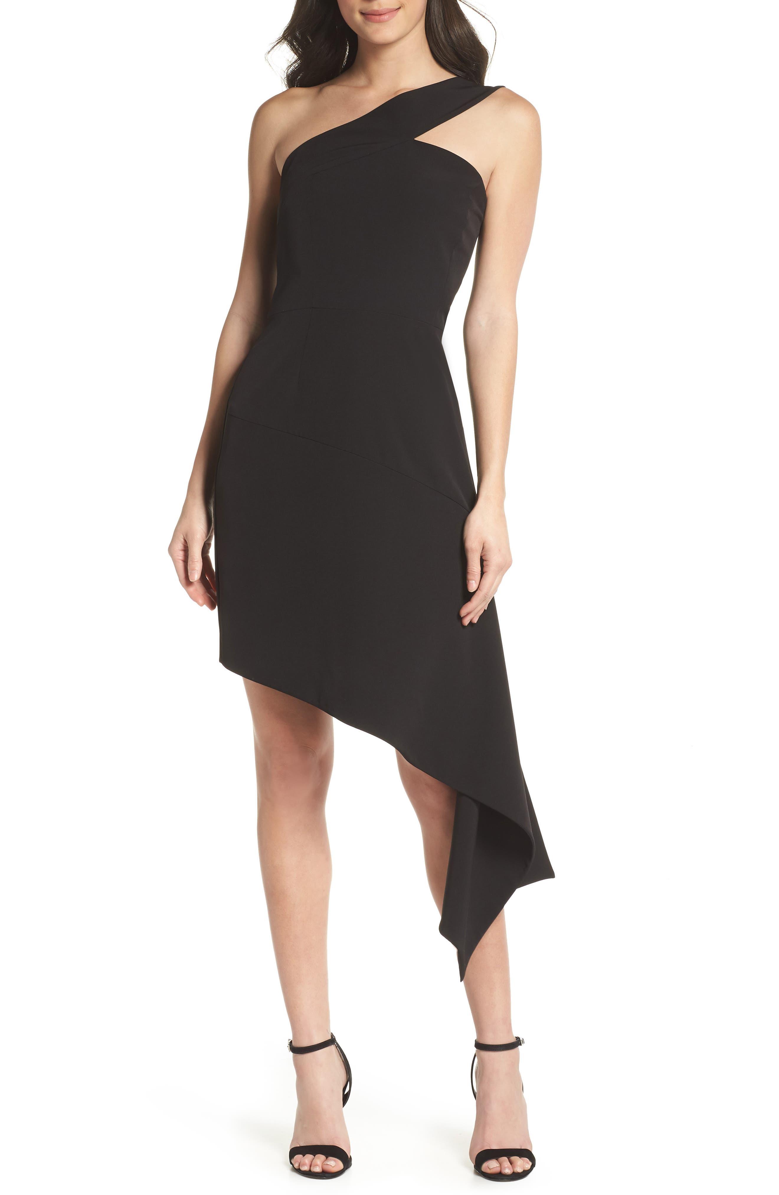 CLOVER AND SLOANE,                             One-Shoulder Asymmetric Dress,                             Main thumbnail 1, color,                             001