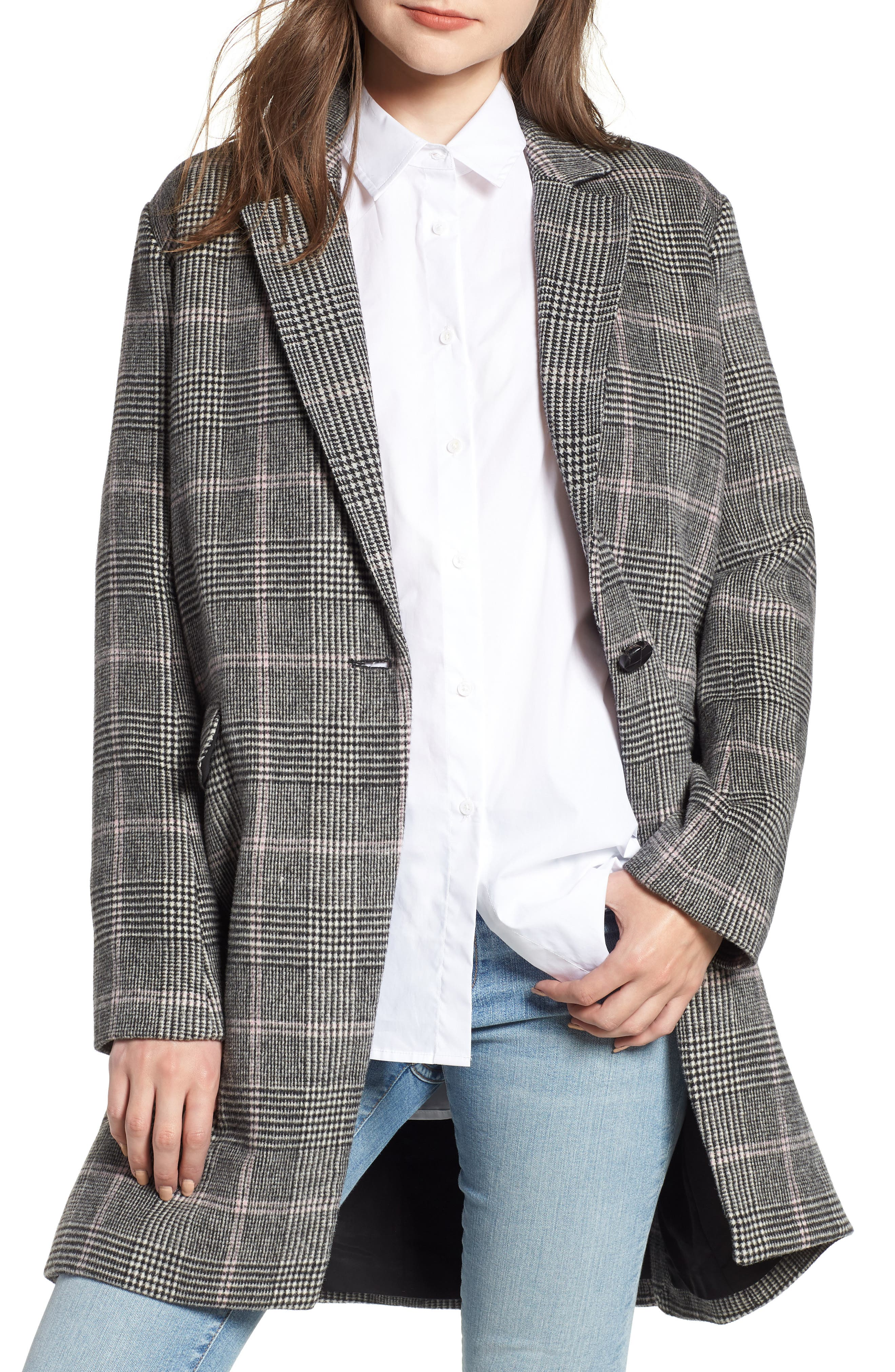 Anders Plaid Coat,                         Main,                         color, CHARCOAL PINK PLAID