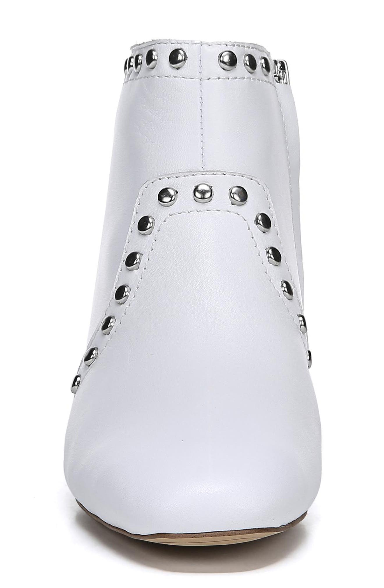 Lorin Studded Bootie,                             Alternate thumbnail 4, color,                             WHITE LEATHER