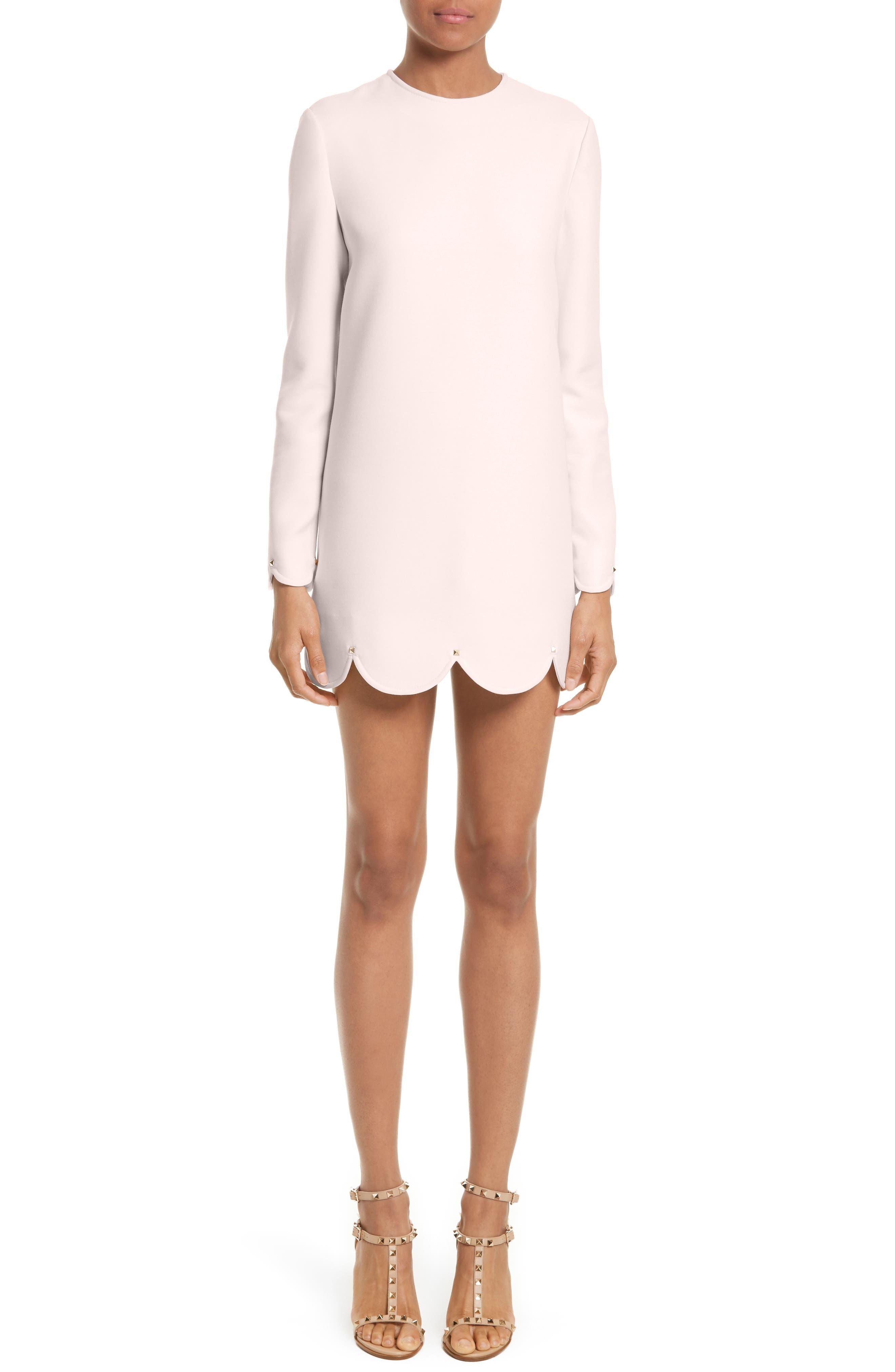 Scallop Hem Wool & Silk Shift Dress,                         Main,                         color, 681